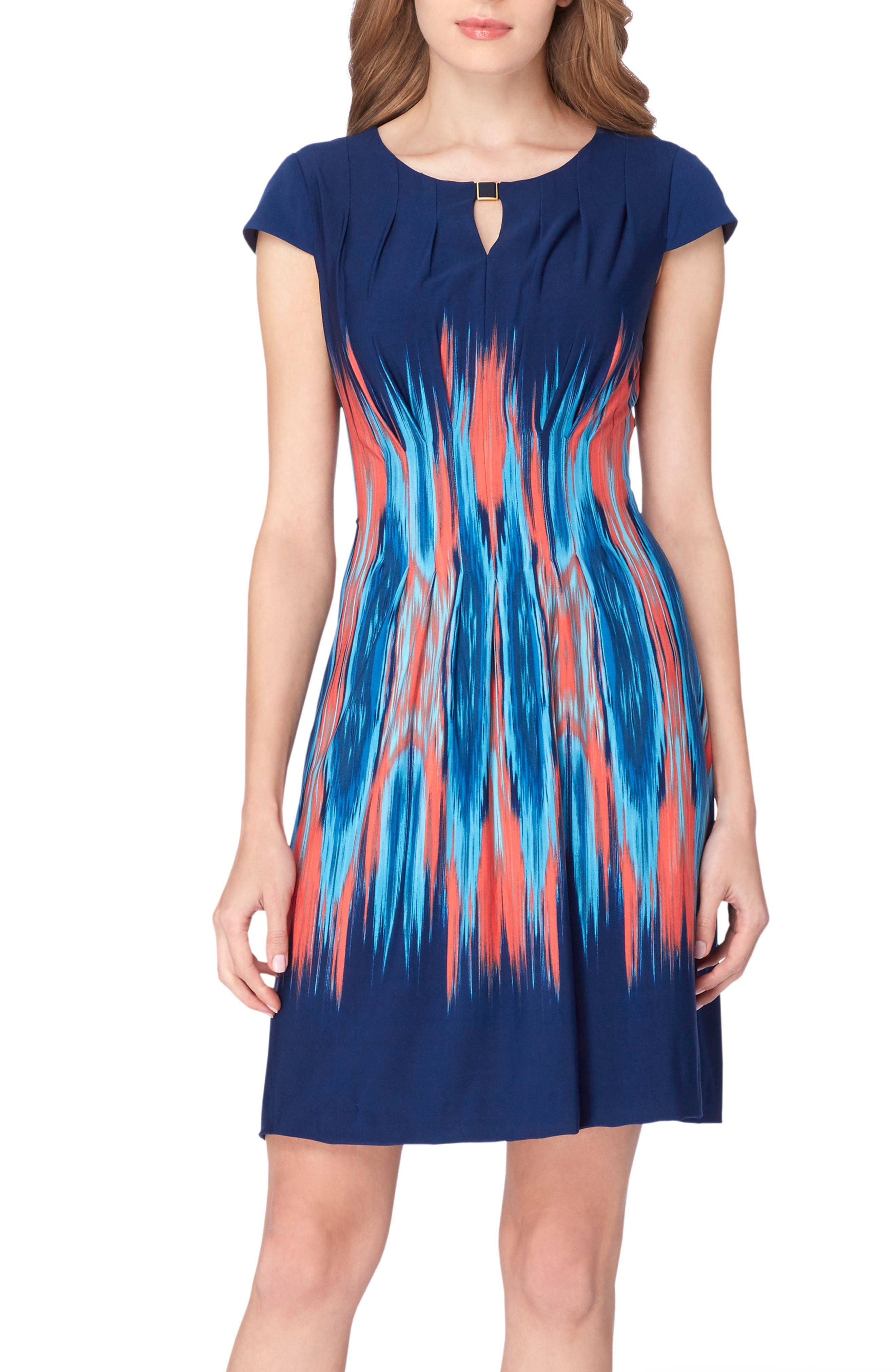 Flame Print Jersey Sheath Dress,                             Main thumbnail 1, color,                             Navy/ Coral/ Turquoise