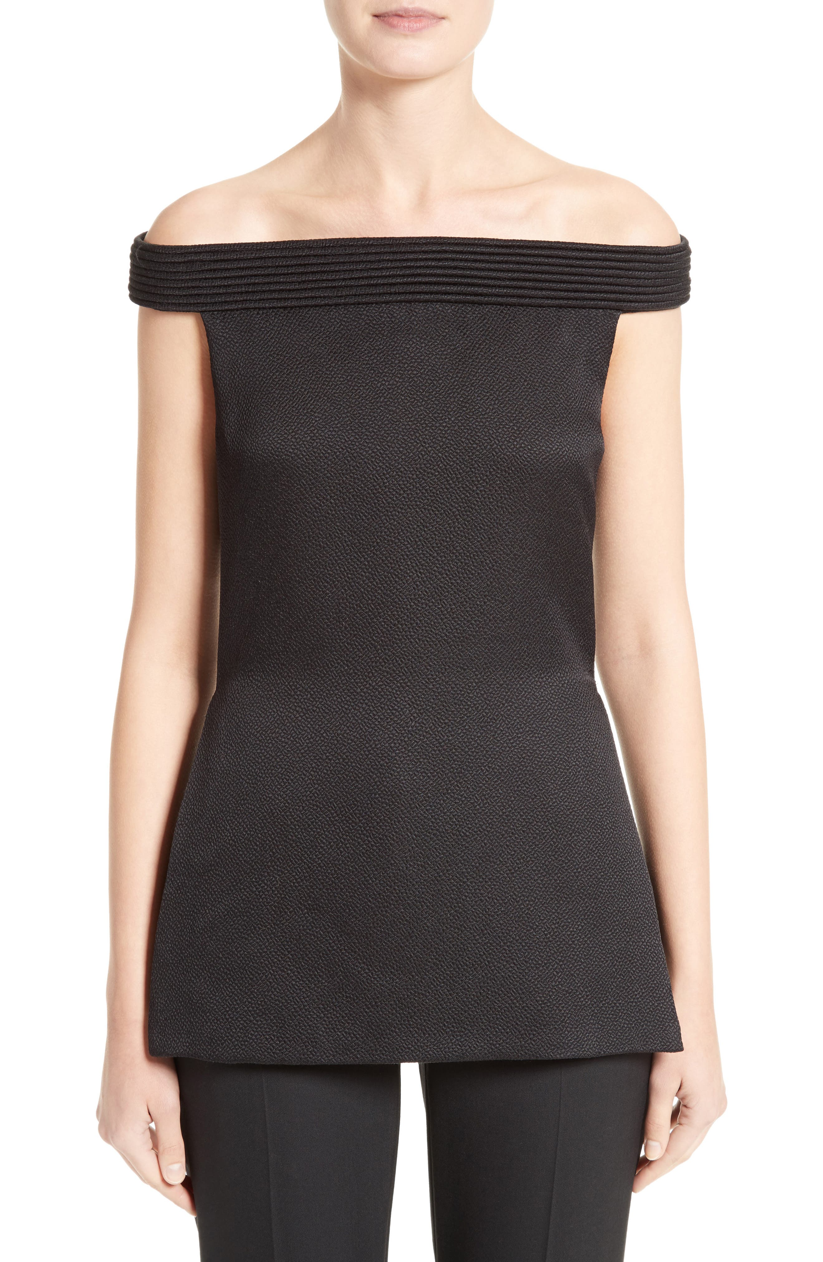 Piped Jacquard Off the Shoulder Top,                         Main,                         color, Black