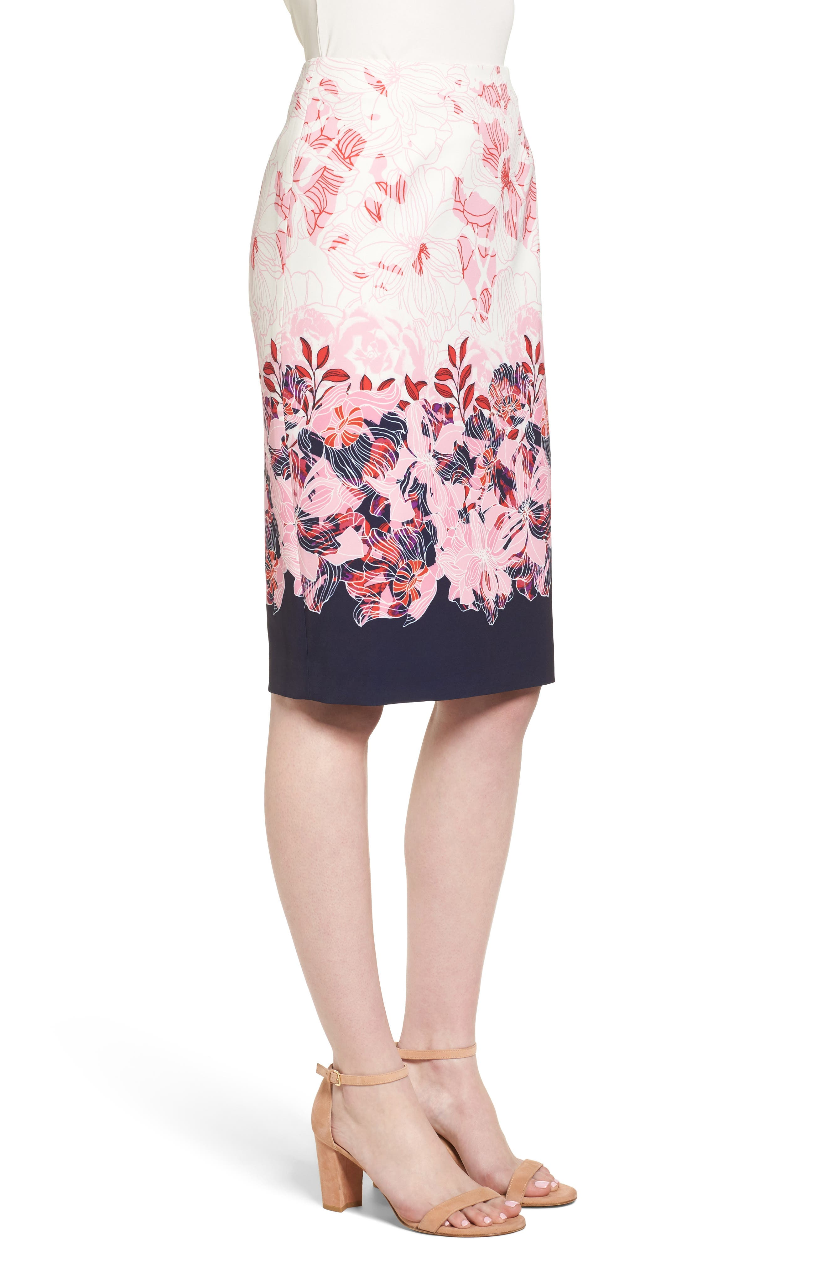 Alternate Image 4  - Halogen® Floral Print Pencil Skirt (Regular & Petite)