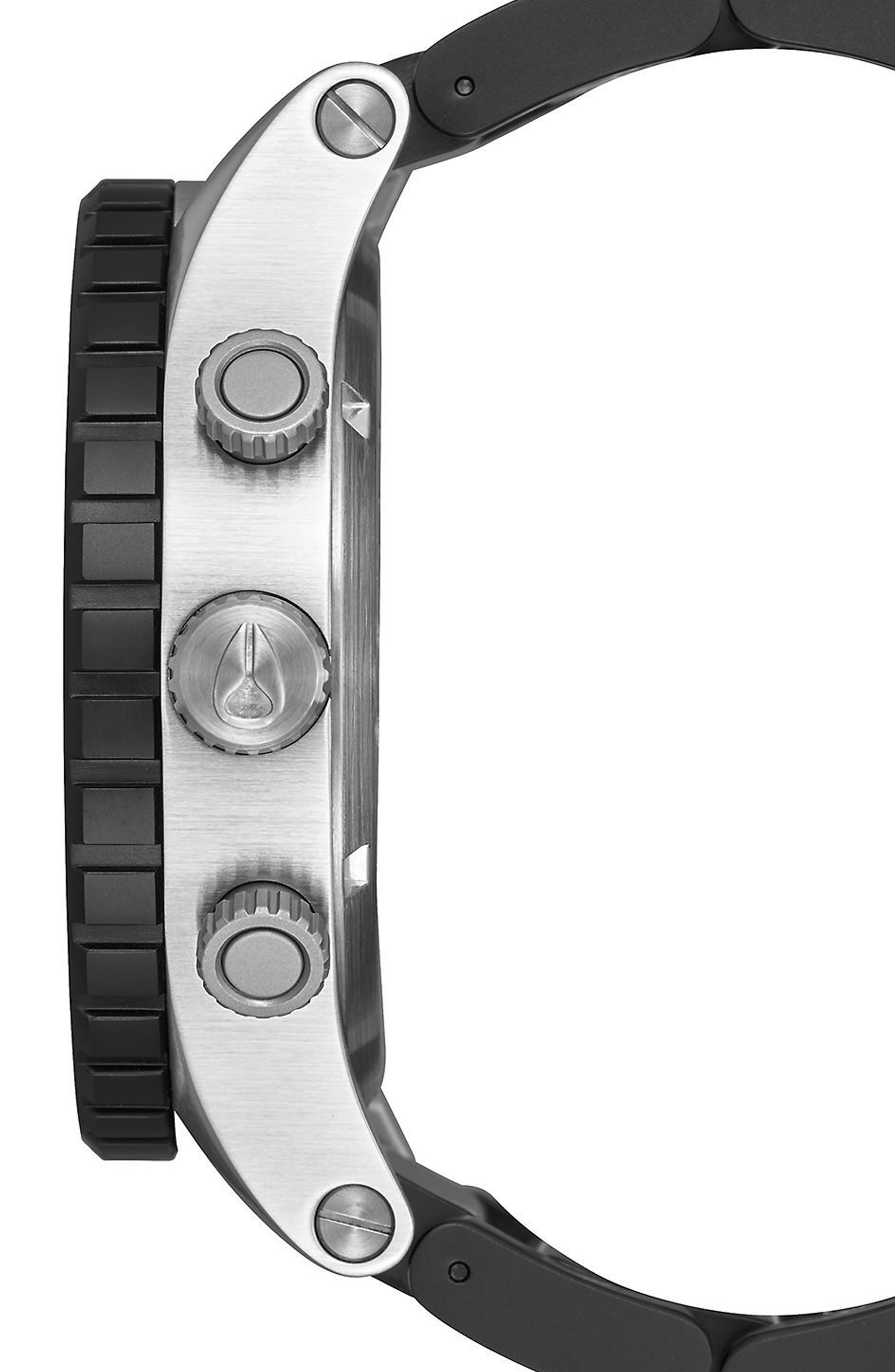 51-30 Chronograph Watch, 51mm,                             Alternate thumbnail 3, color,                             Black/ Steel