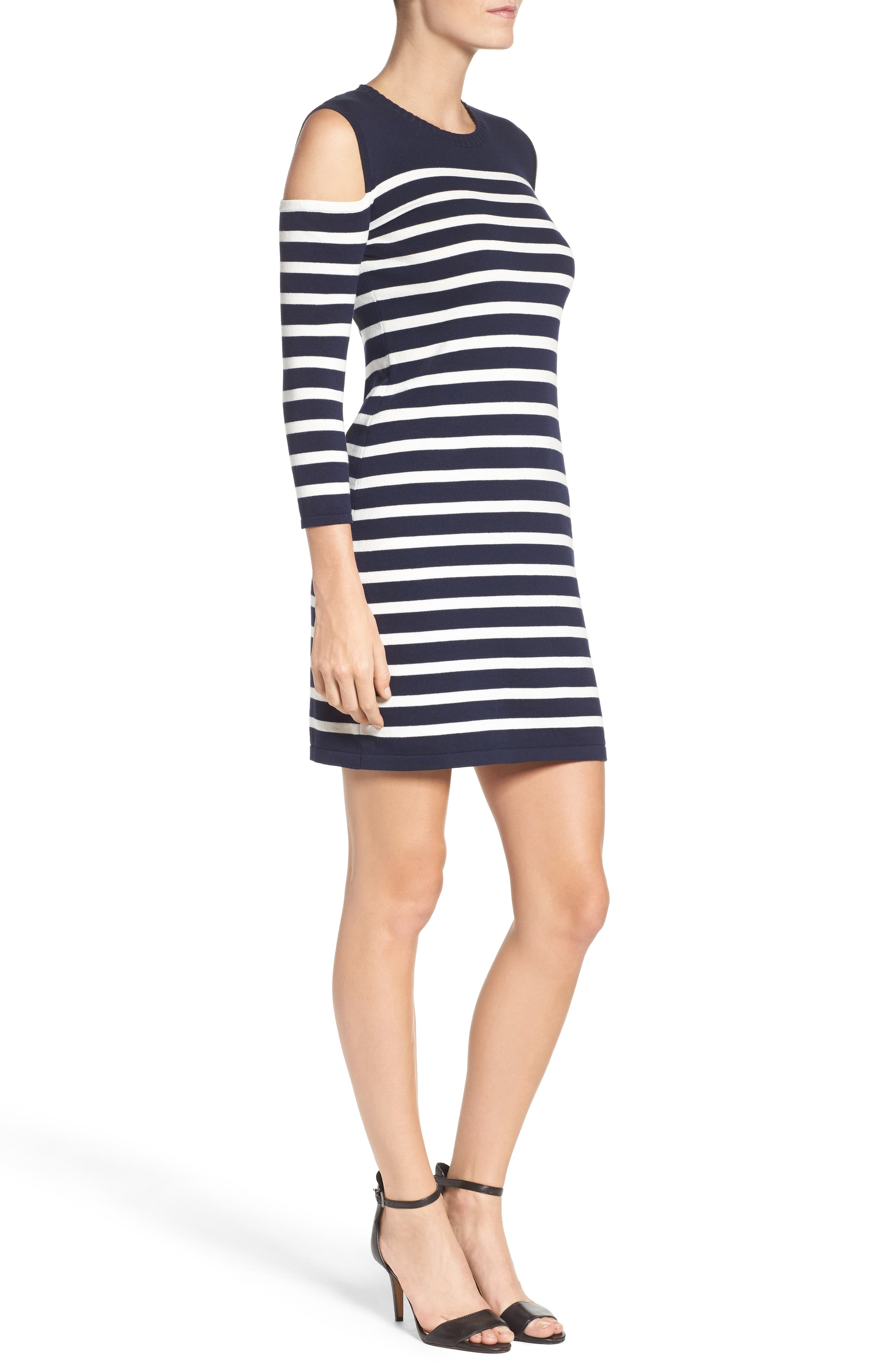 Trina Turk Tango Stripe Cotton Knit Dress,                             Alternate thumbnail 3, color,                             Whitewash/ Indigo