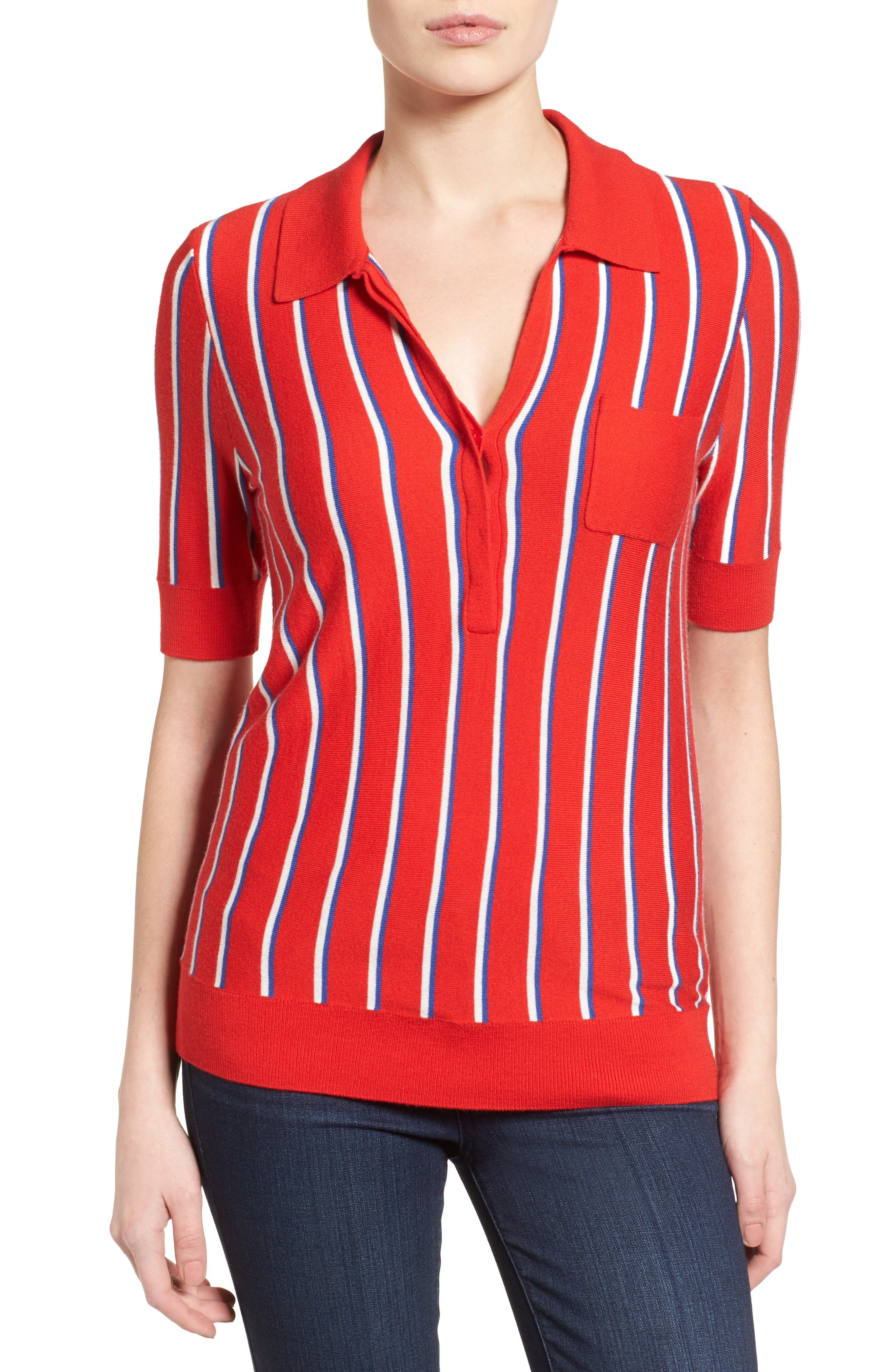 Alternate Image 1 Selected - Halogen® Stripe Polo Sweater (Regular & Petite)