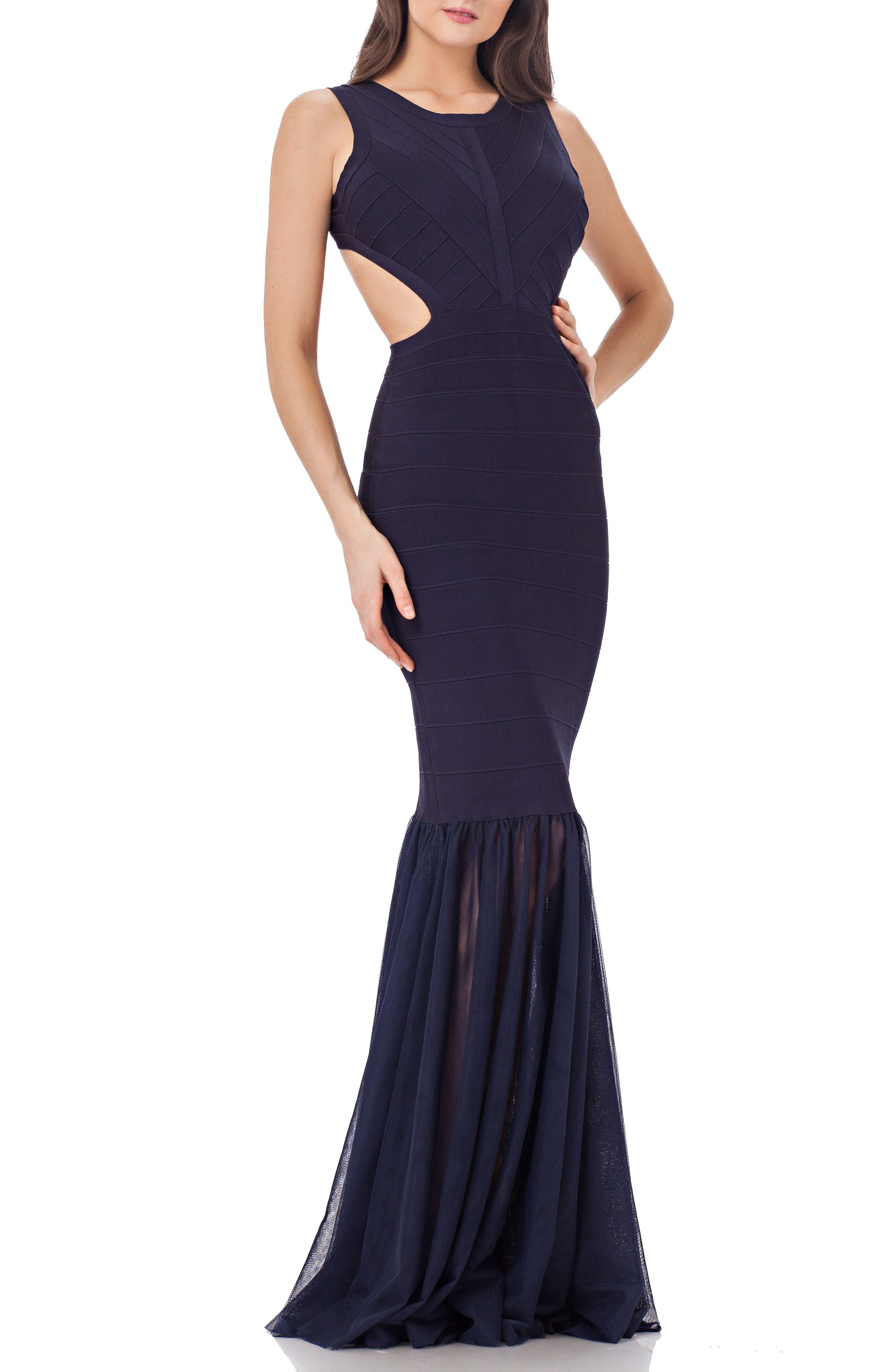 Mermaid Gown,                             Main thumbnail 1, color,                             Navy