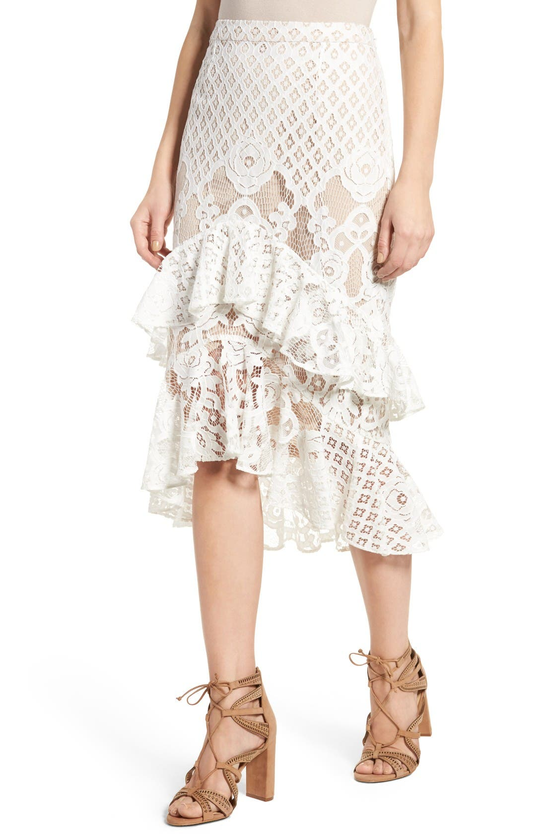 Alternate Image 5  - Chelsea28 Tiered Lace Midi Skirt