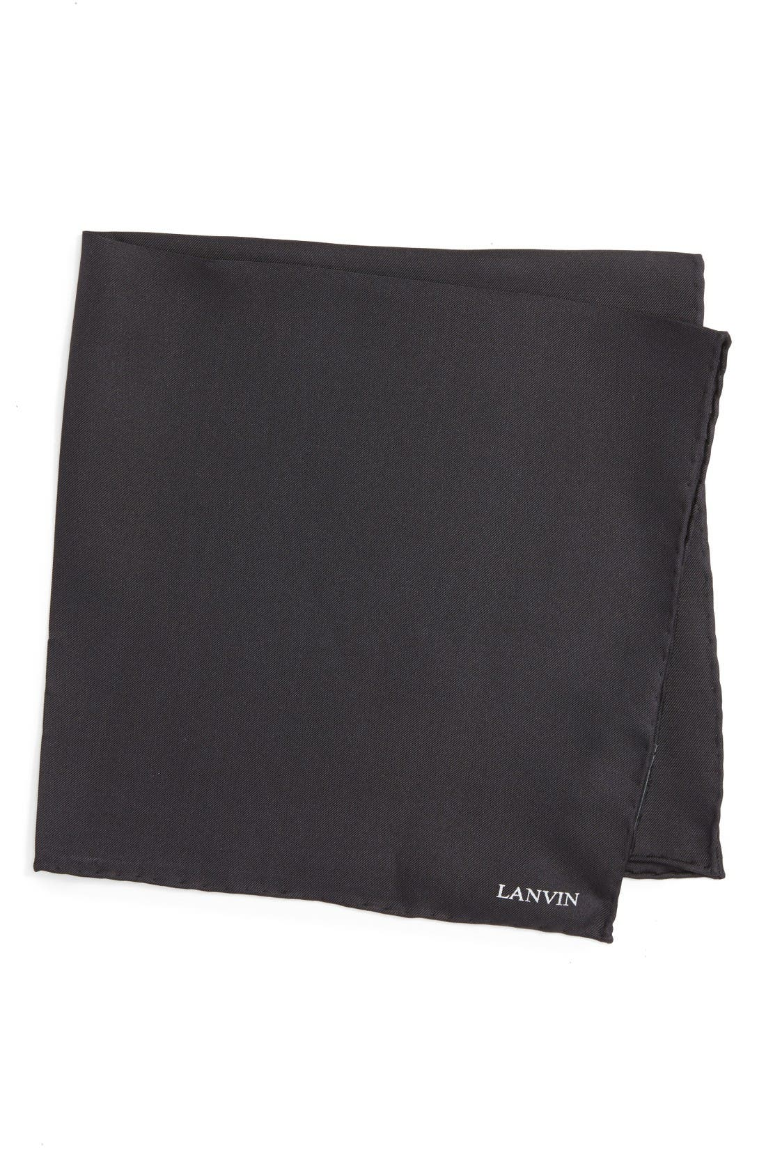 Solid Silk Pocket Square,                         Main,                         color, Black