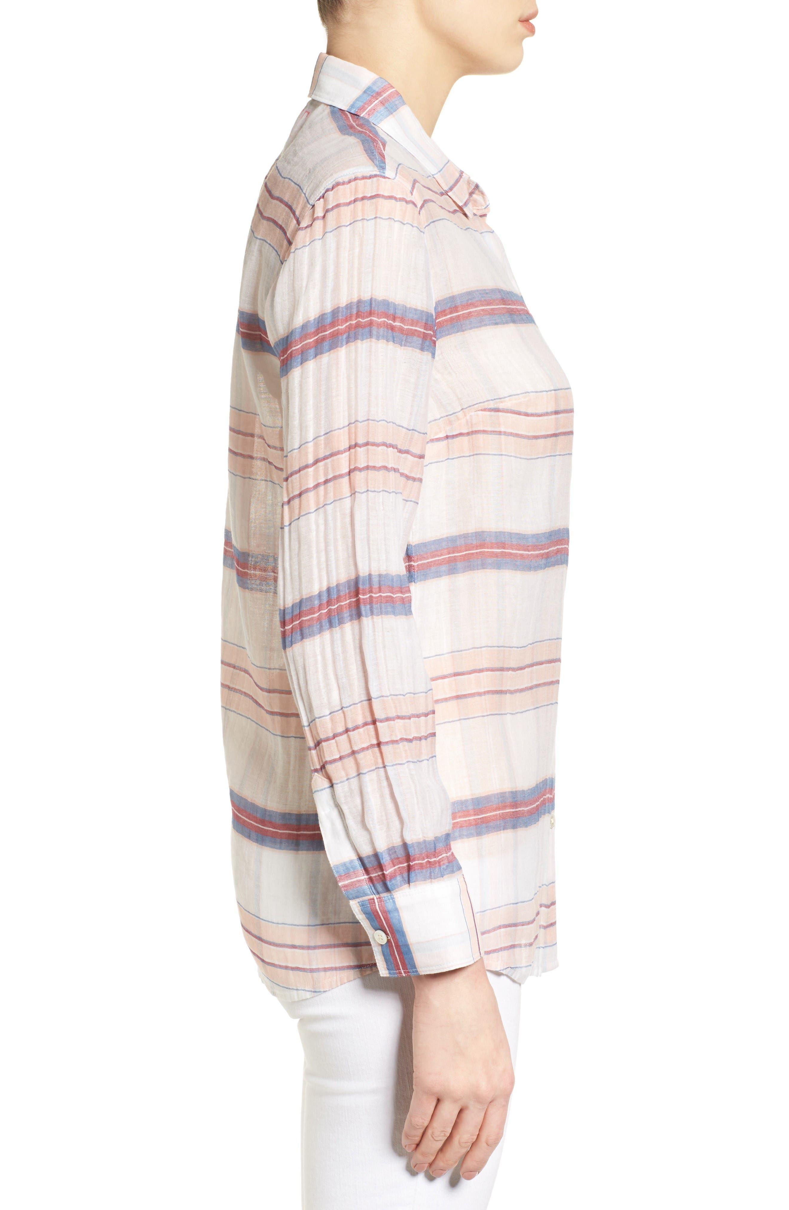 Costas Stripe Cotton & Silk Shirt,                             Alternate thumbnail 3, color,                             White