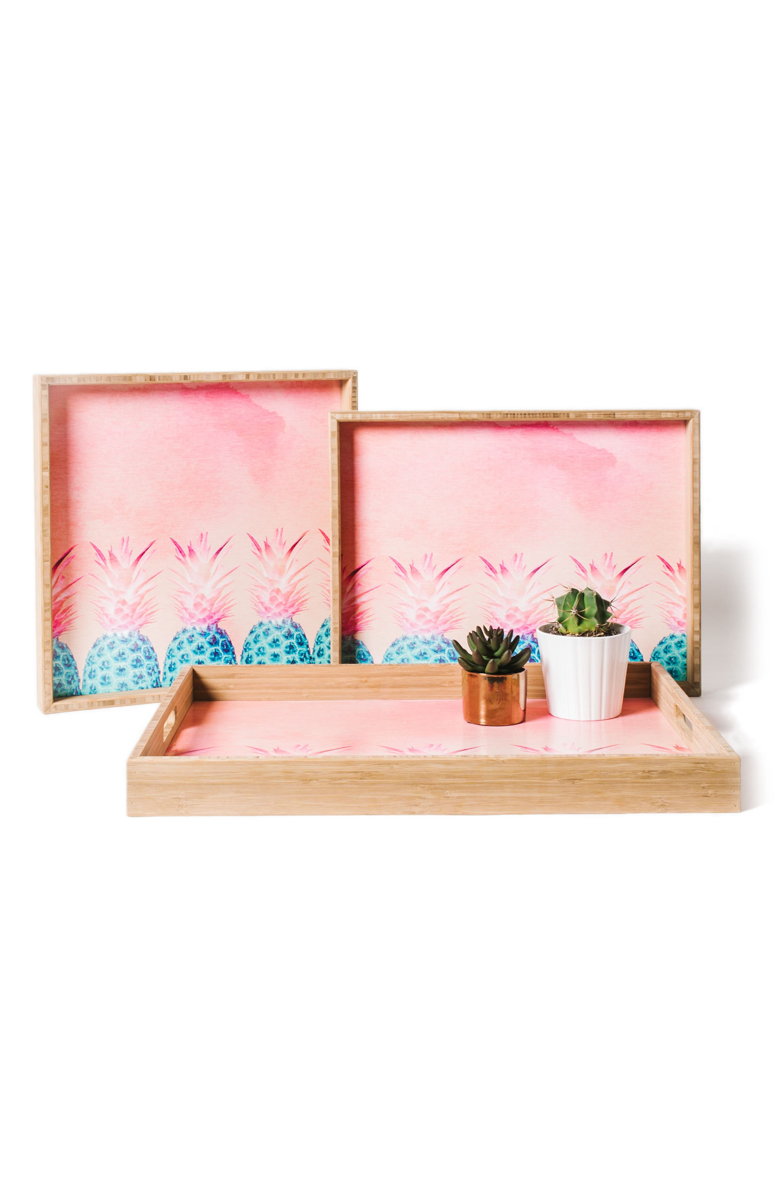 Pineapple Farm Serving Tray,                             Alternate thumbnail 2, color,                             Pink