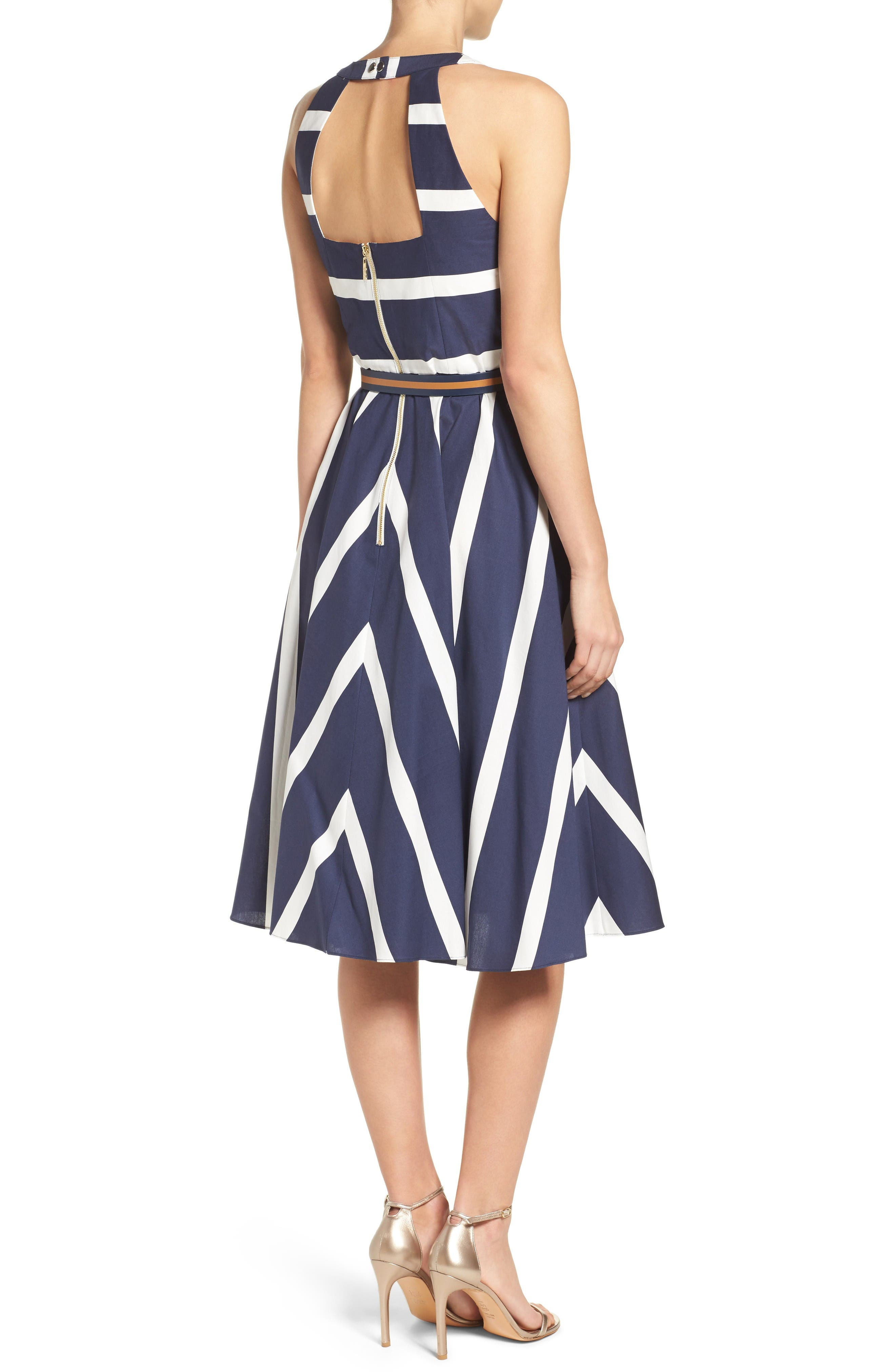 Stripe Fit & Flare Dress,                             Alternate thumbnail 2, color,                             Navy/ White