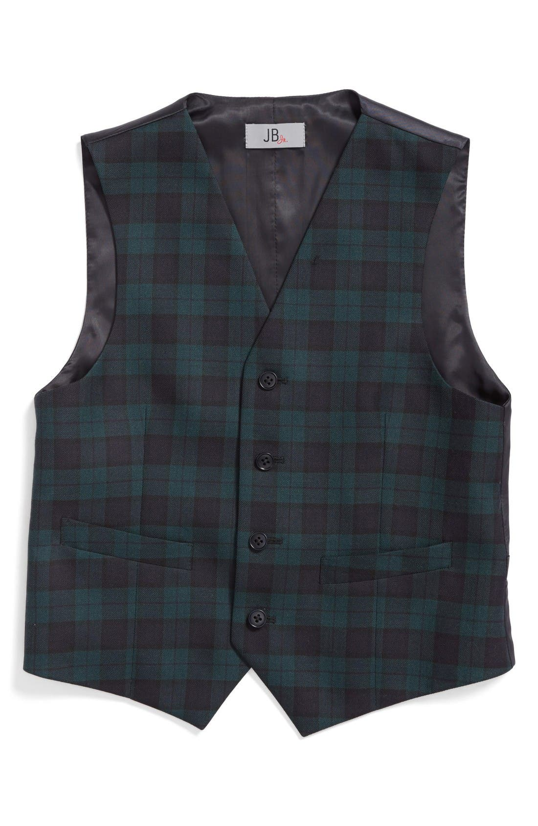 JB Jr Plaid Wool Vest (Big Boys)