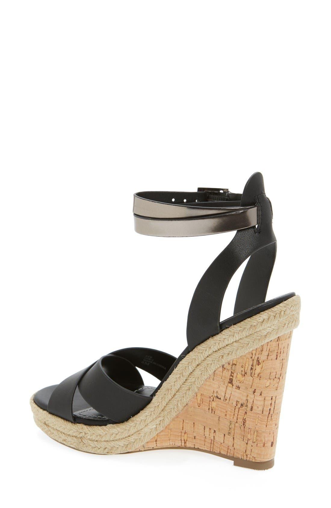 Brit Wedge Platform Sandal,                             Alternate thumbnail 2, color,                             Black/ Gunmetal