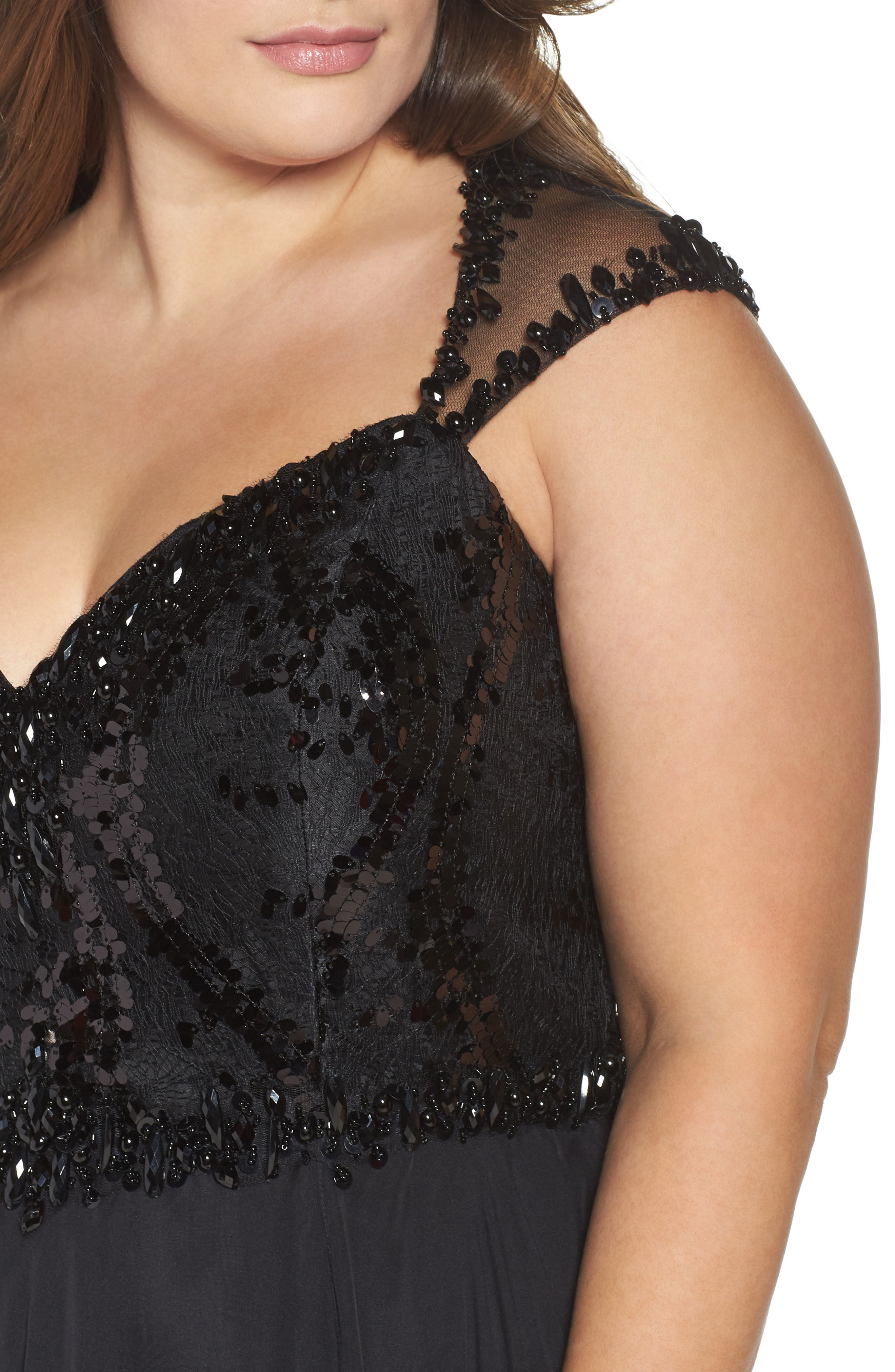 Beaded Lace Bodice Gown,                             Alternate thumbnail 4, color,                             Black
