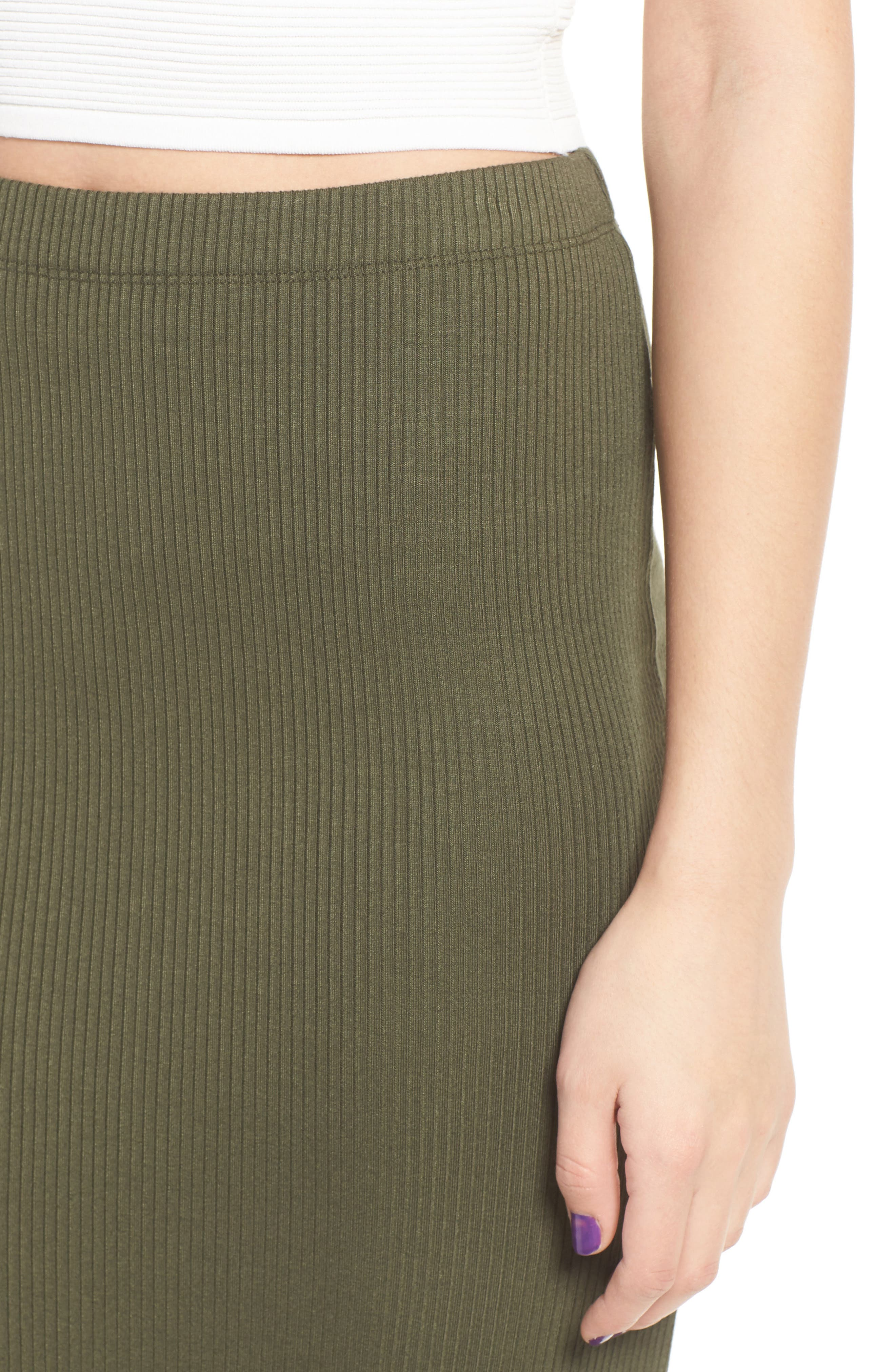 Rib Midi Skirt,                             Alternate thumbnail 5, color,                             Olive Sarma