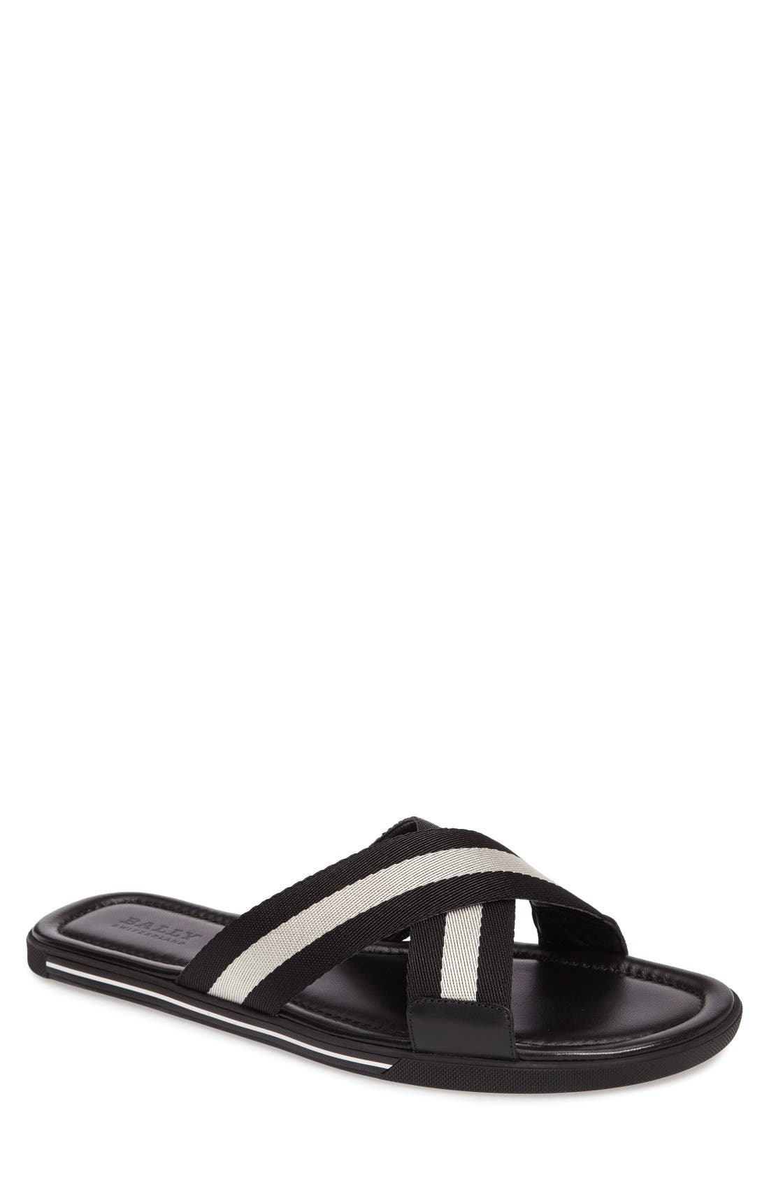 Bonks Slide Sandal,                             Main thumbnail 1, color,                             Black/ Bone