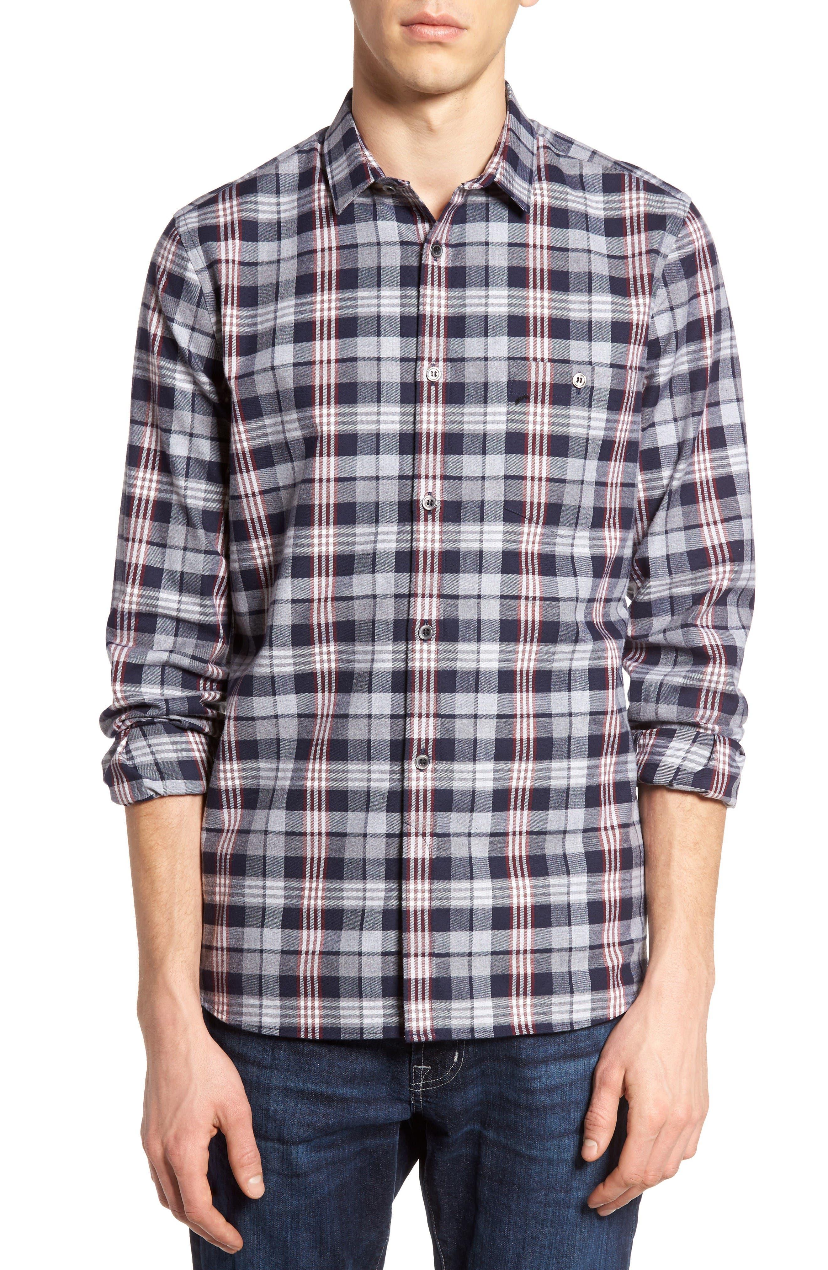 Check Twill Shirt,                         Main,                         color, Marine Blue