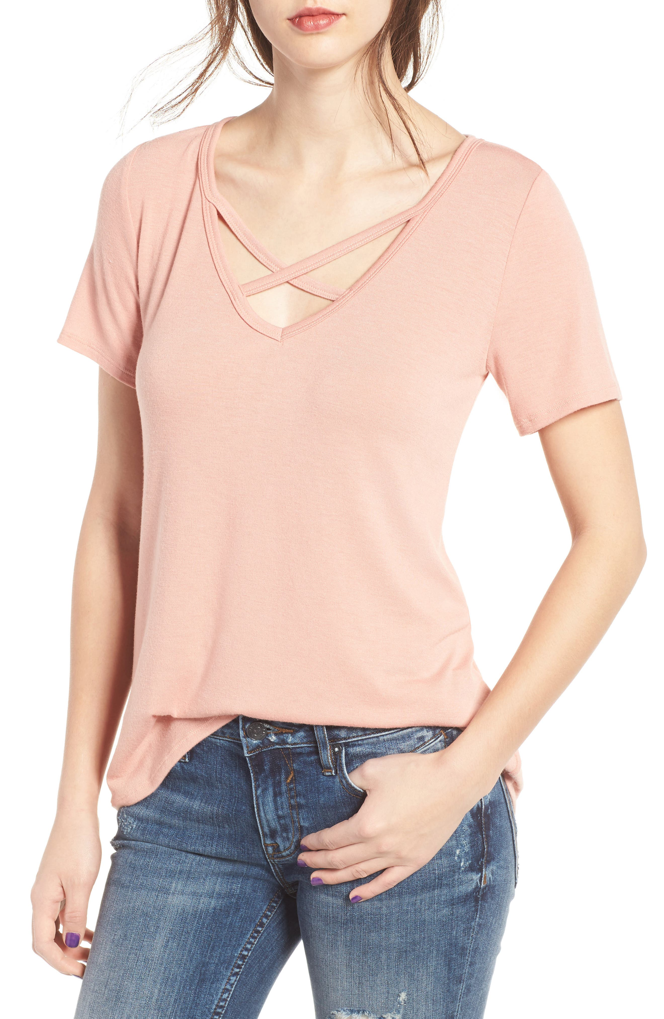 Strap Front Tee,                         Main,                         color, Rose Dawn
