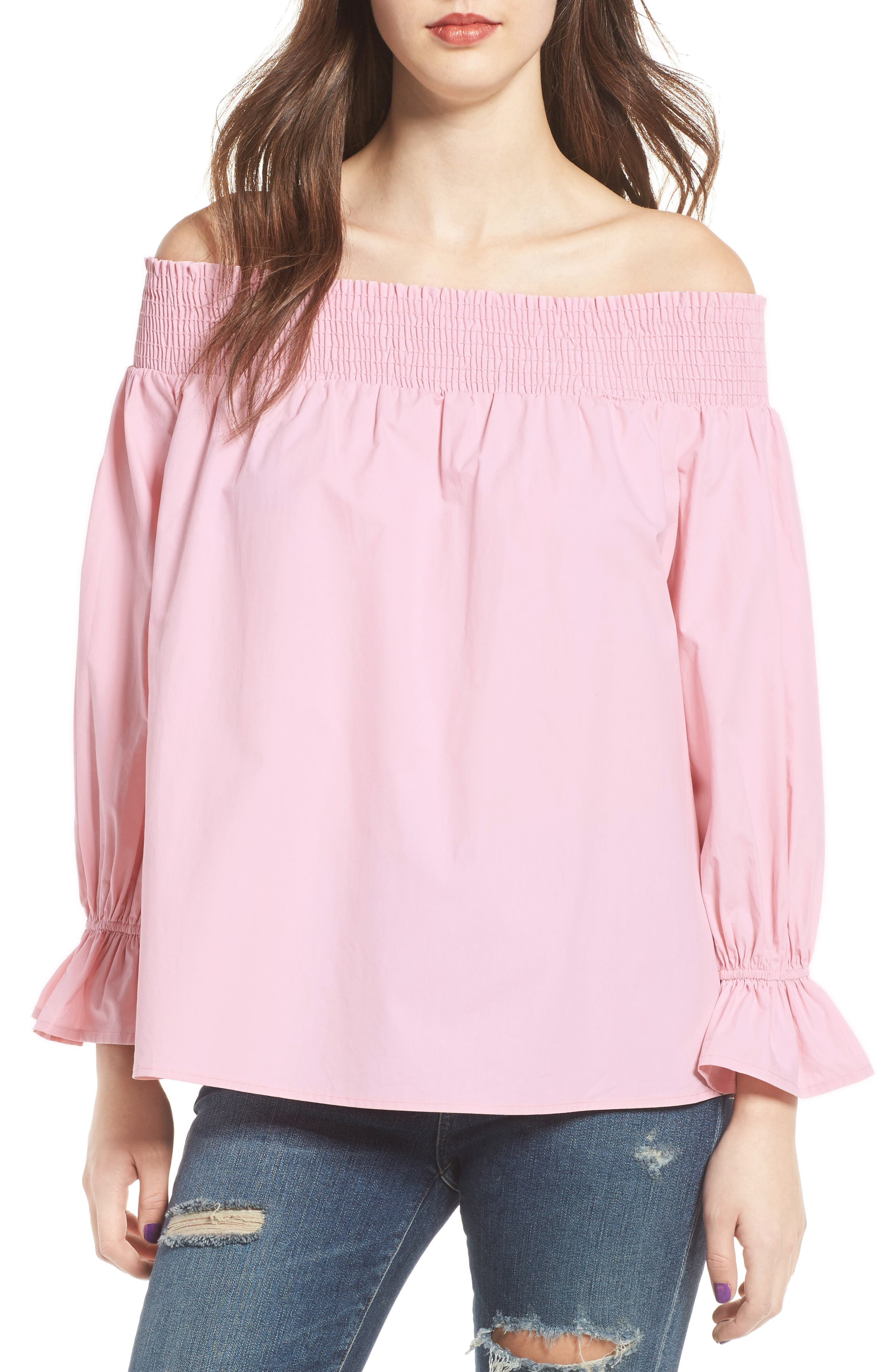Bow Off-the-Shoulder Top,                             Main thumbnail 1, color,                             Blush