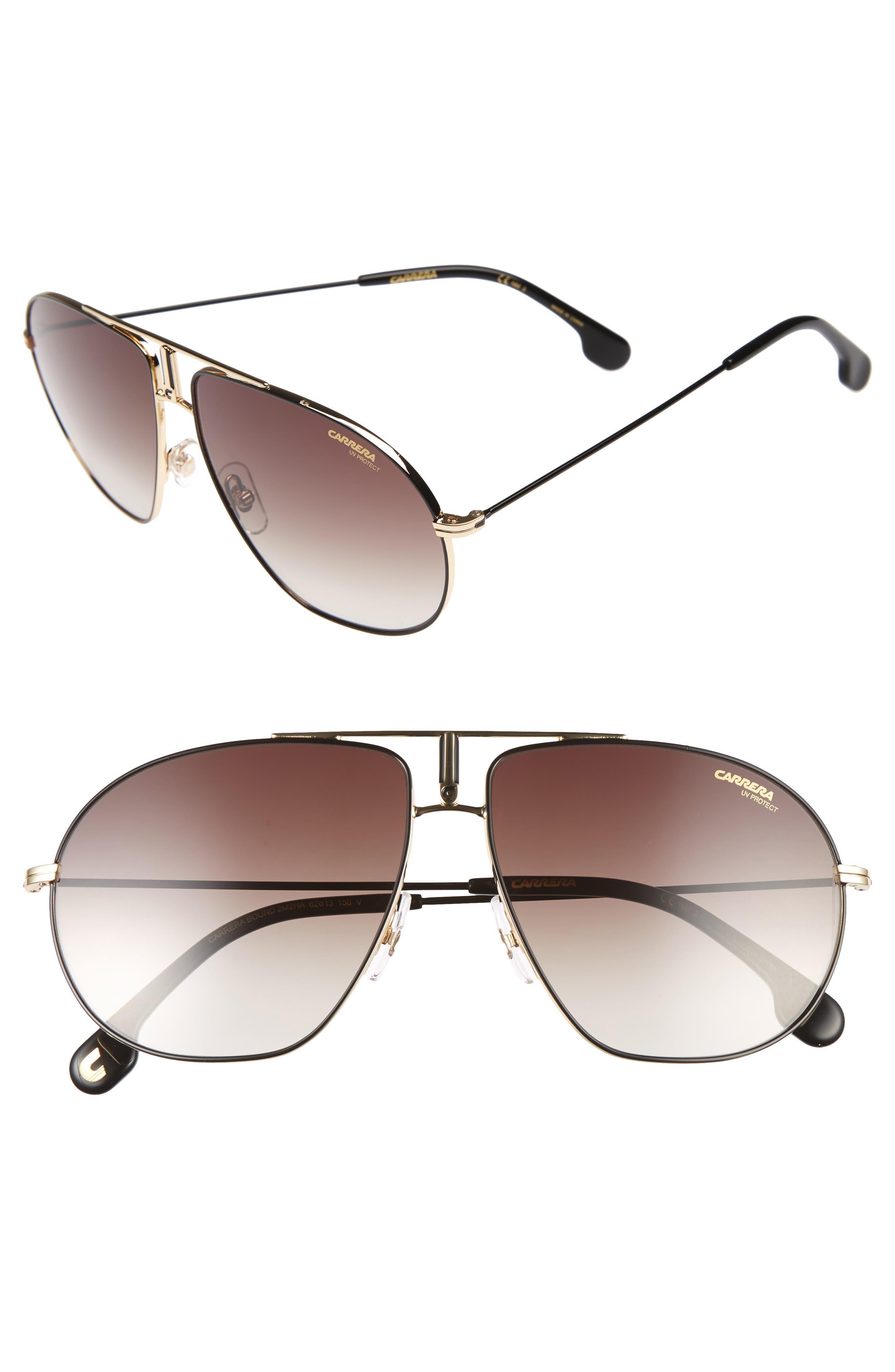 Bounds 60mm Gradient Aviator Sunglasses,                         Main,                         color, Black Gold