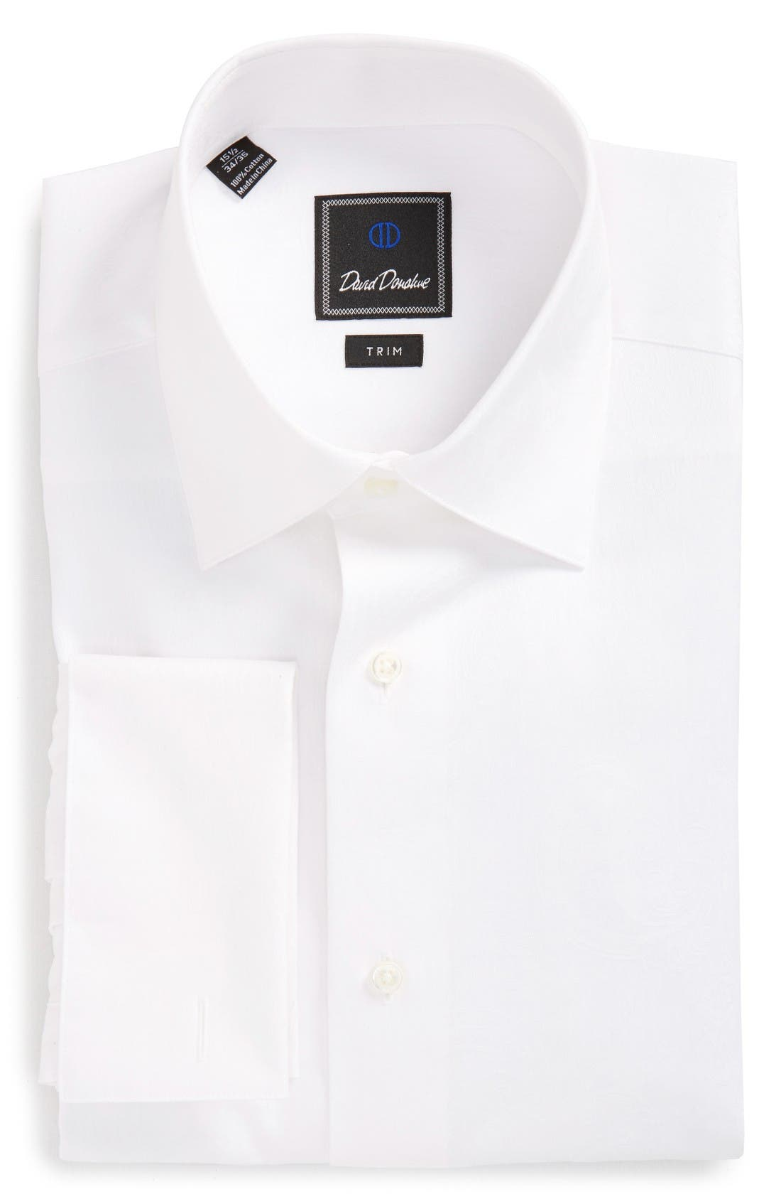 David Donahue Trim Fit Solid Tuxedo Shirt