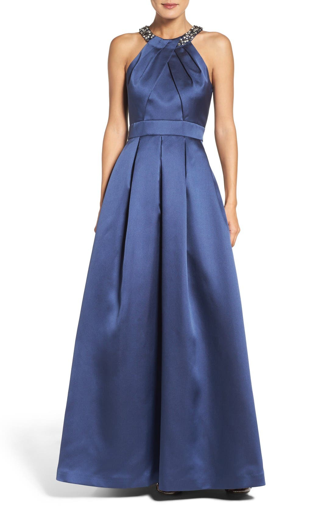 Beaded Pleated Gown,                         Main,                         color, Navy