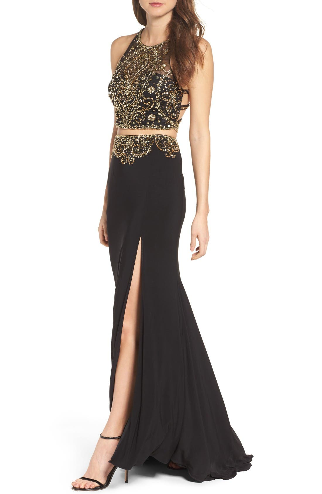 Embellished Two-Piece Gown,                             Alternate thumbnail 4, color,                             Onyx