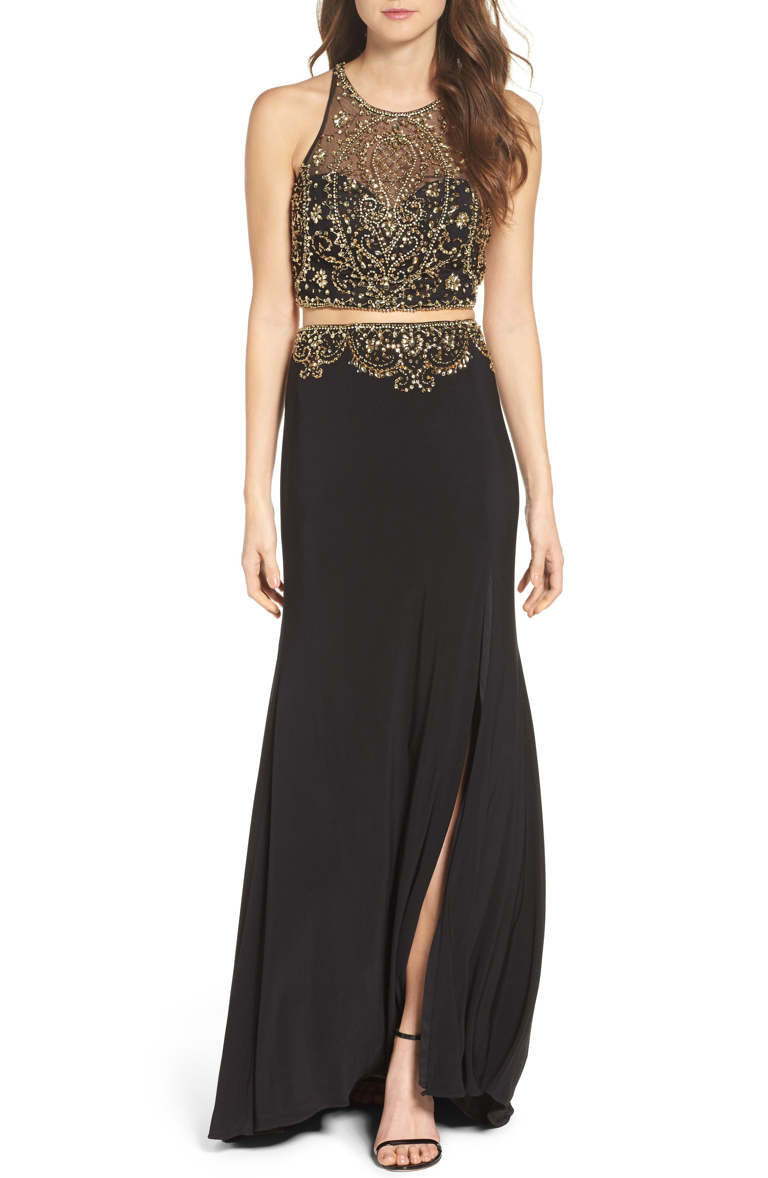Embellished Two-Piece Gown,                             Main thumbnail 1, color,                             Onyx