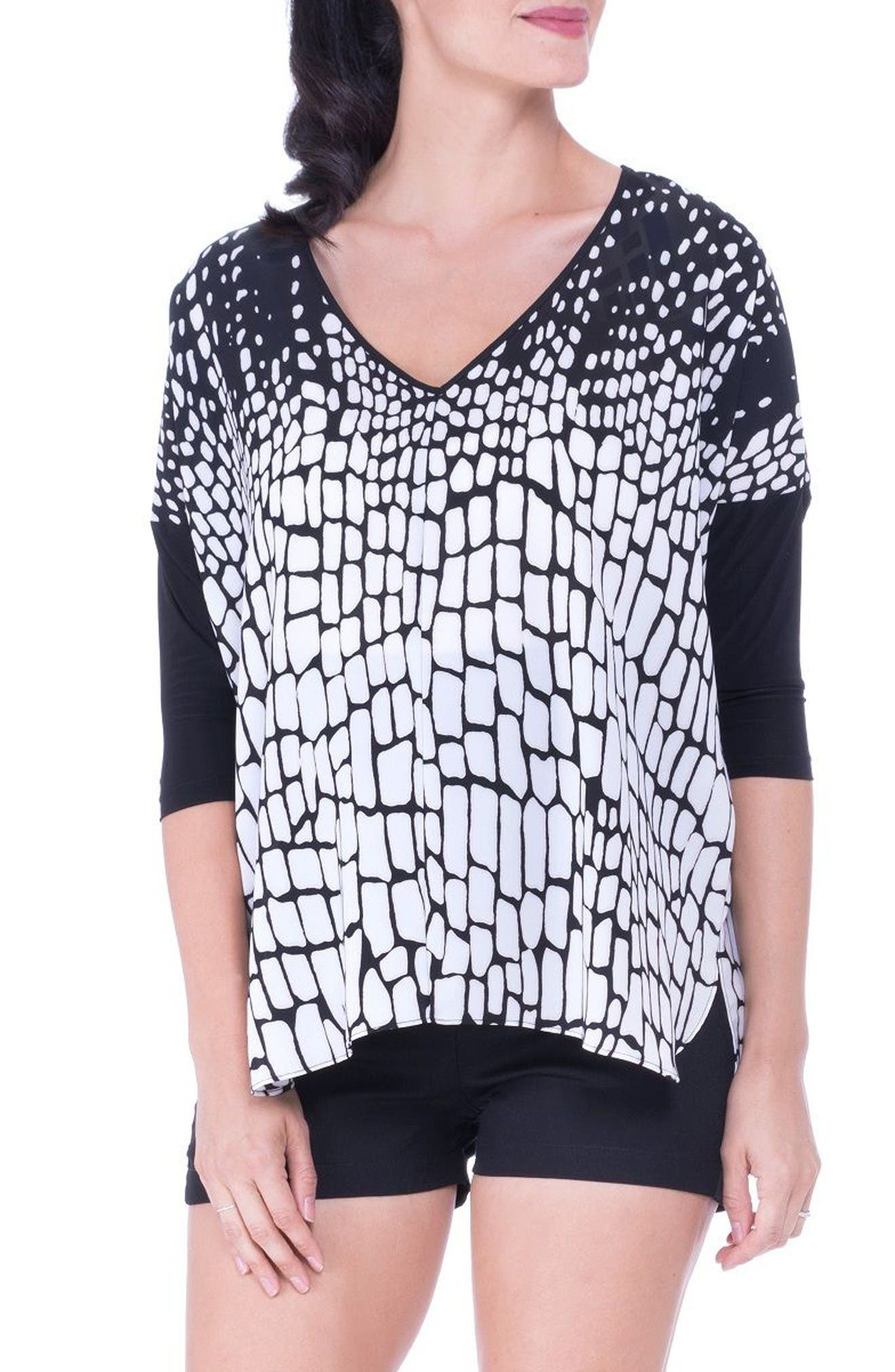 V-Neck Drop Sleeve Patterned Maternity Top,                             Main thumbnail 1, color,                             Black/ White