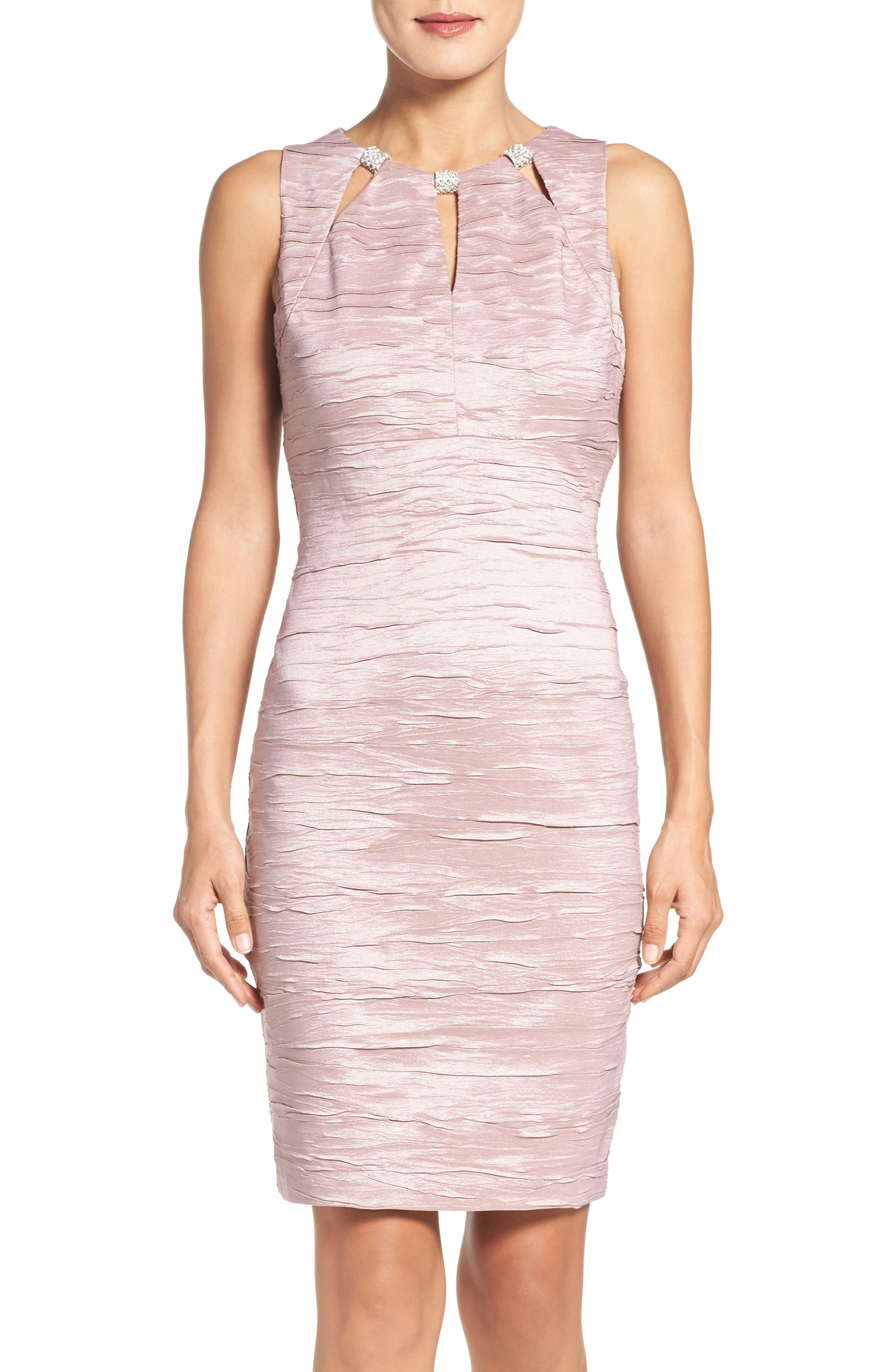 Embellished Cutout Taffeta Sheath Dress,                         Main,                         color, Mauve