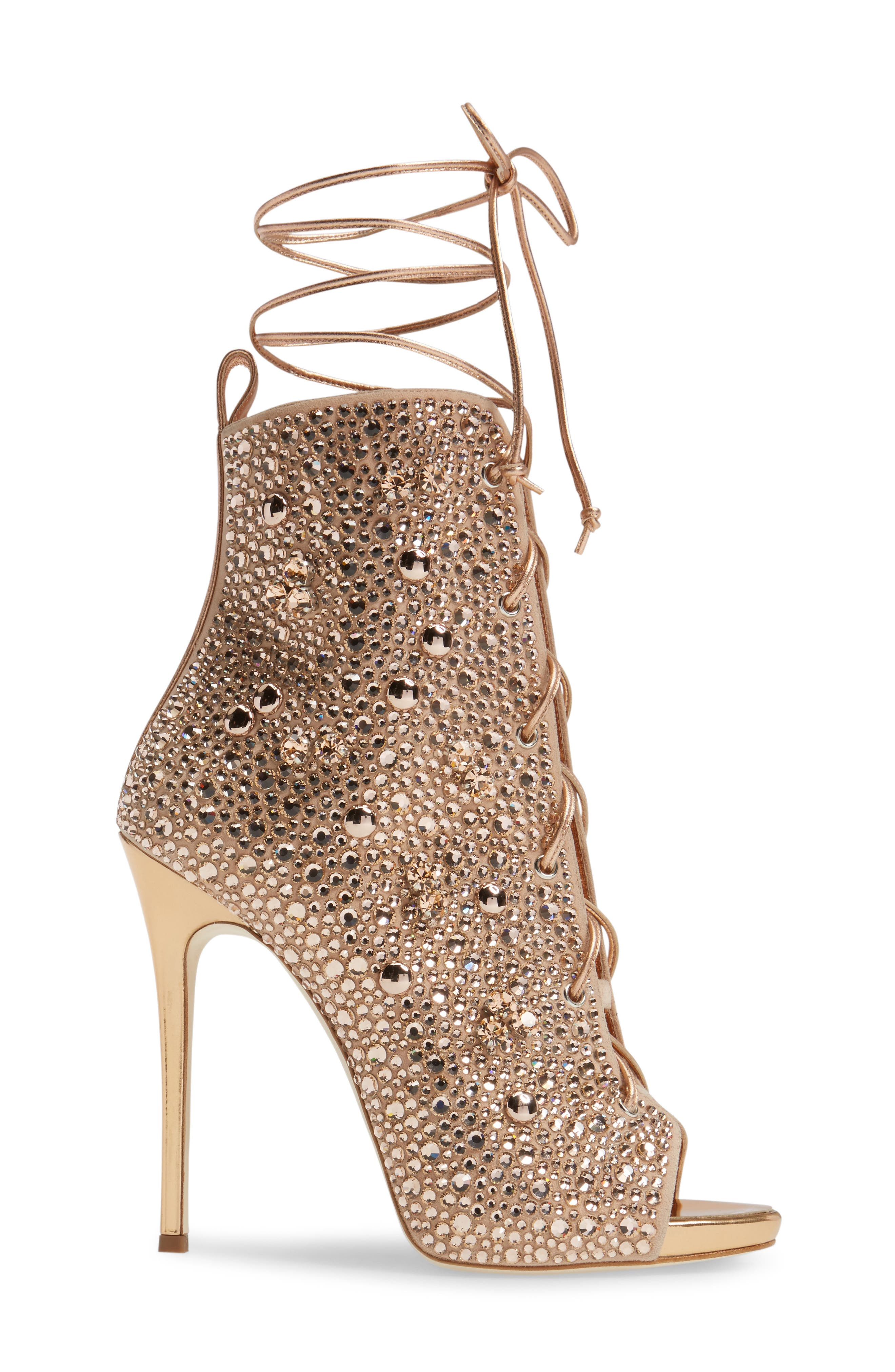 Giuseppe for Jennifer Lopez Lynda Embellished Lace-Up Sandal,                             Alternate thumbnail 4, color,                             Metallic Gold