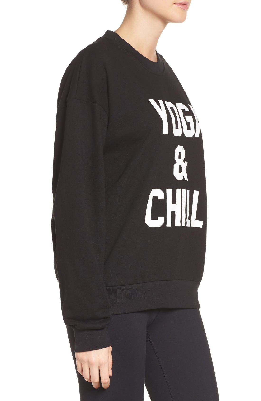 Yoga & Chill Sweatshirt,                             Alternate thumbnail 3, color,                             Black