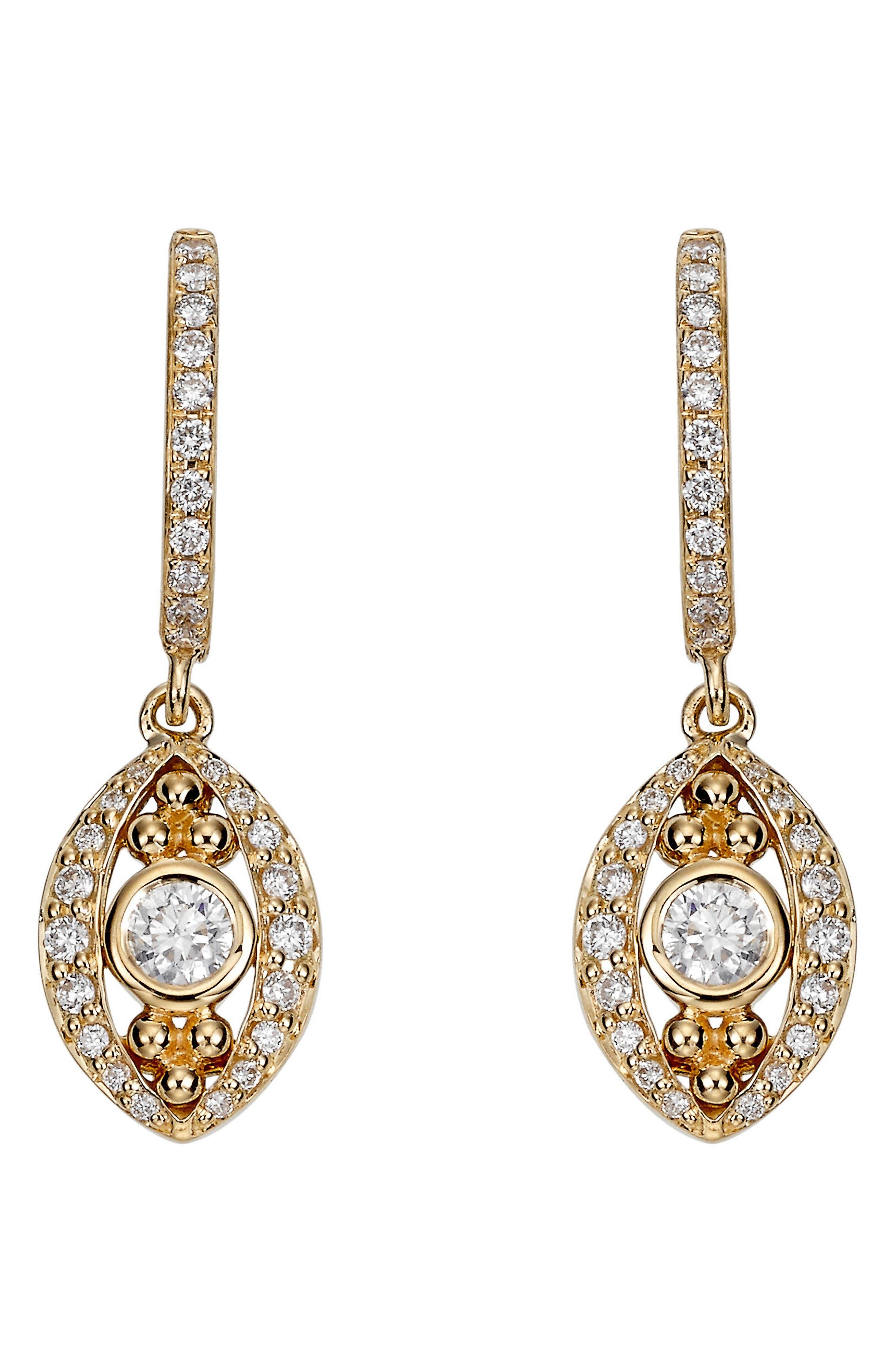 Temple St. Clair Evil Eye Diamond Drop Earrings,                         Main,                         color, Yellow Gold
