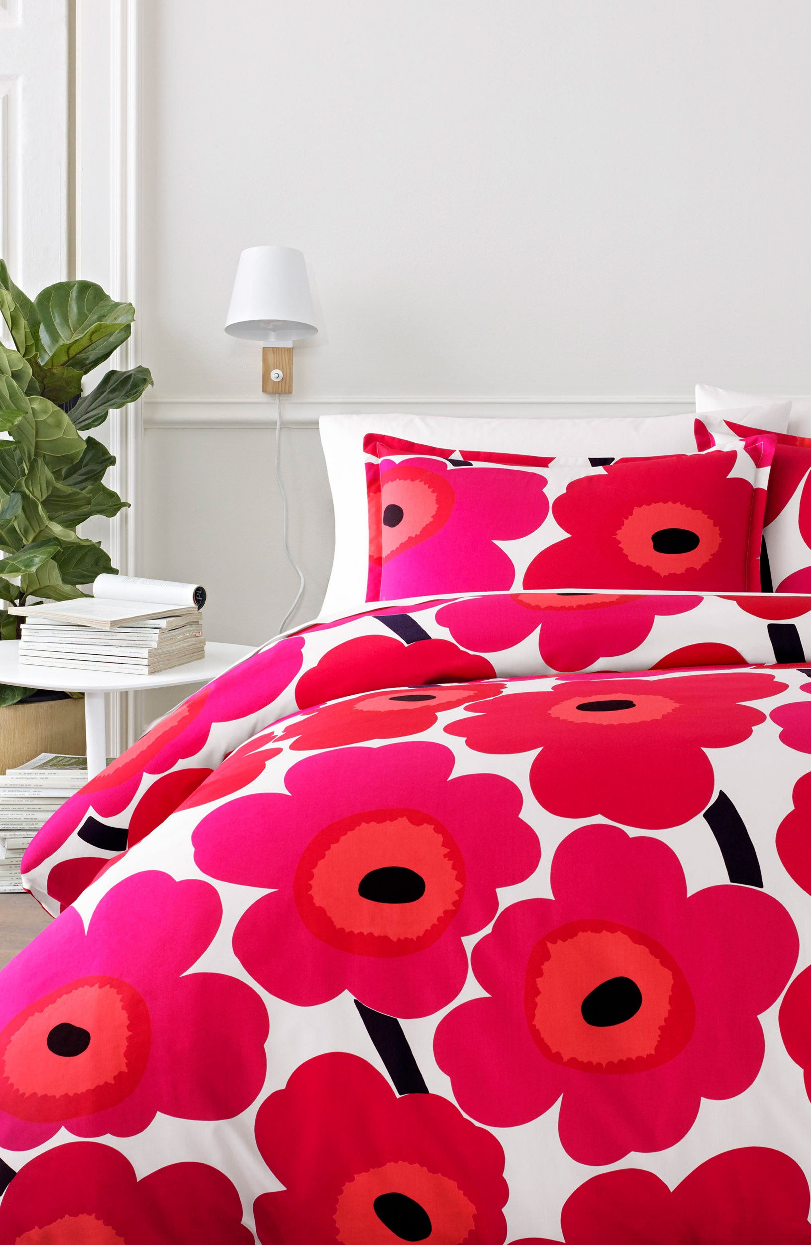Unikko Comforter & Sham Set,                         Main,                         color, Red