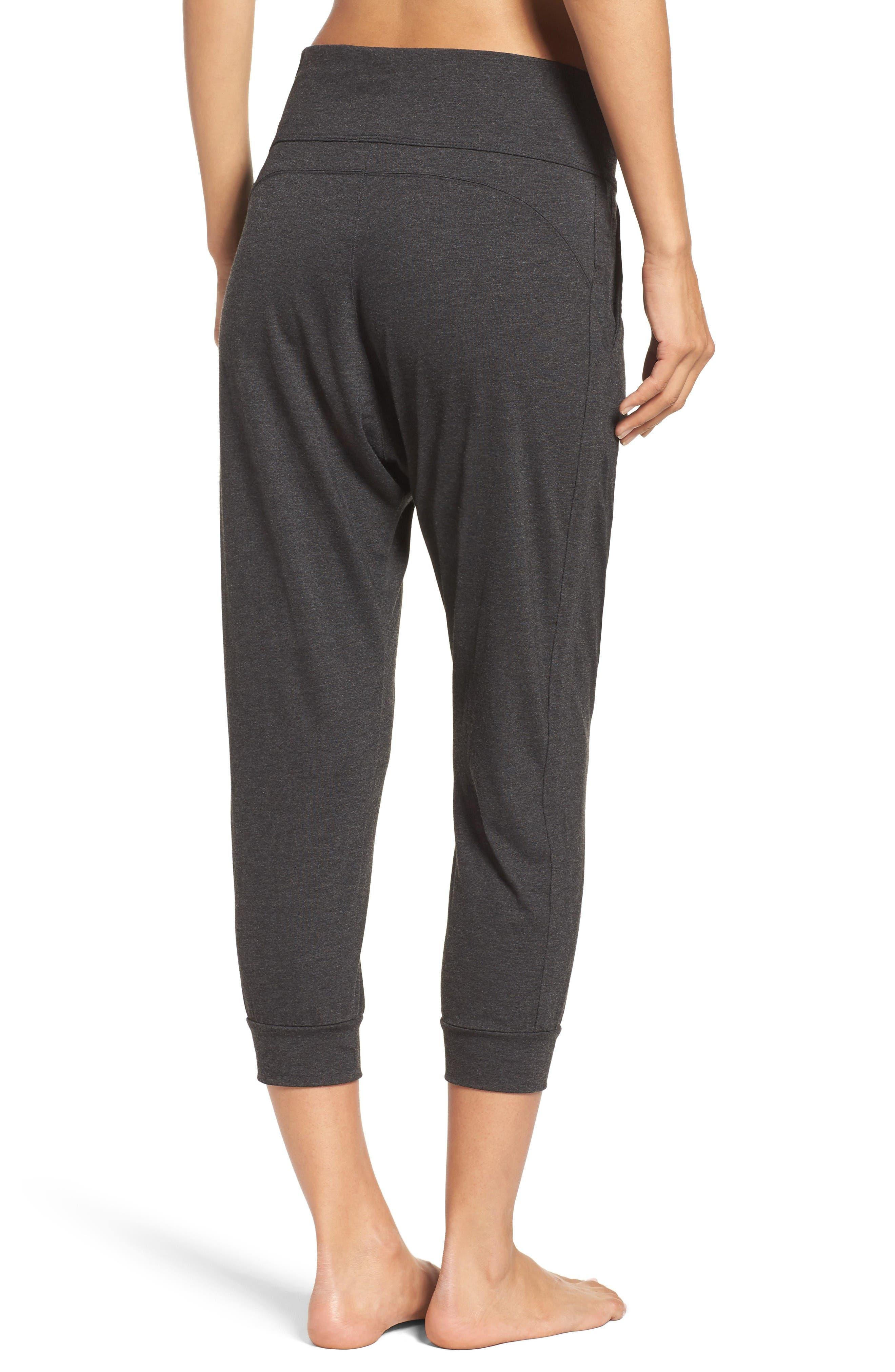 Harmony Crop Harem Pants,                             Alternate thumbnail 2, color,                             Grey Dark Charcoal Heather