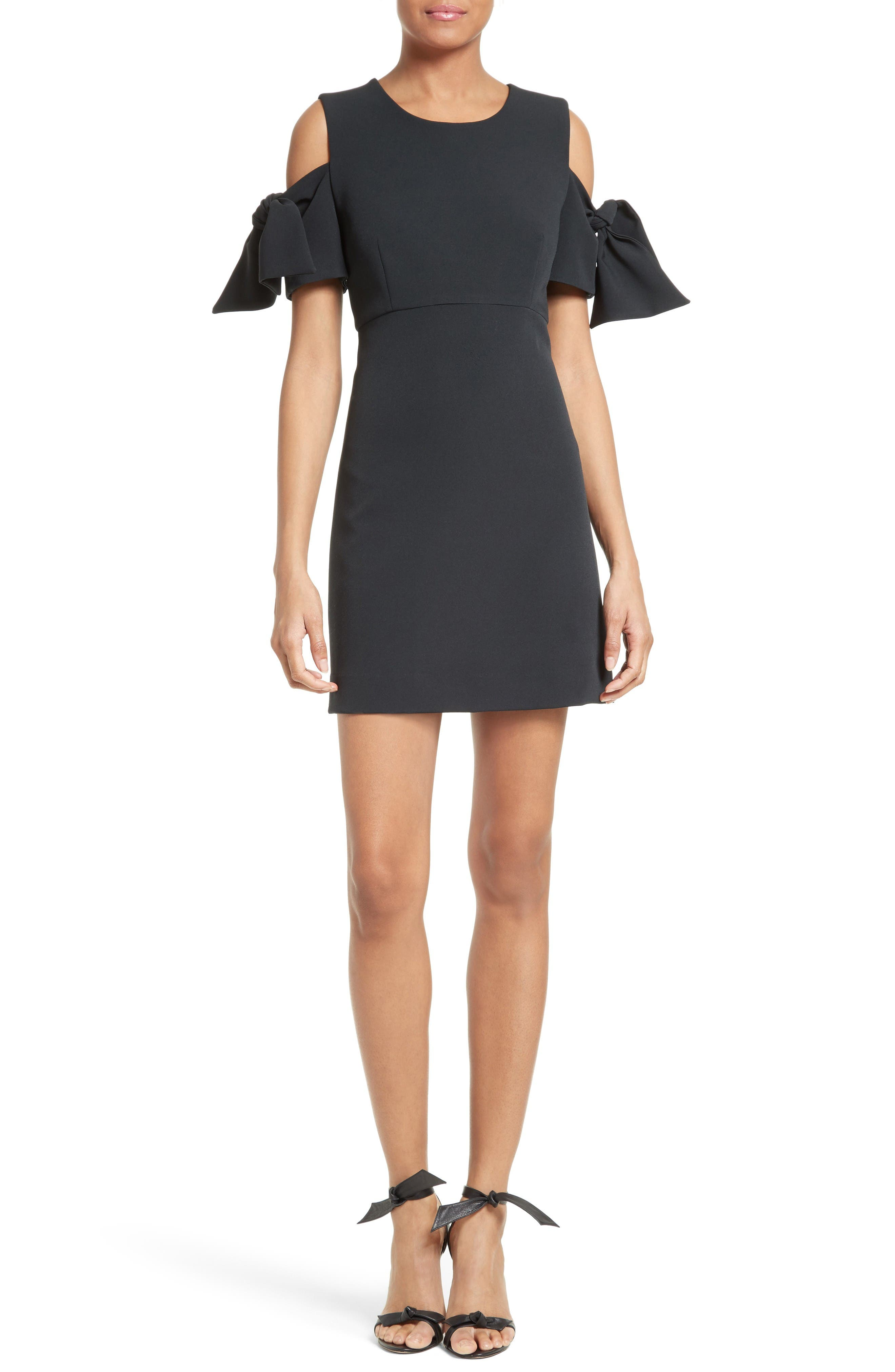 Stretch Crepe Cold Shoulder Minidress,                         Main,                         color, Black