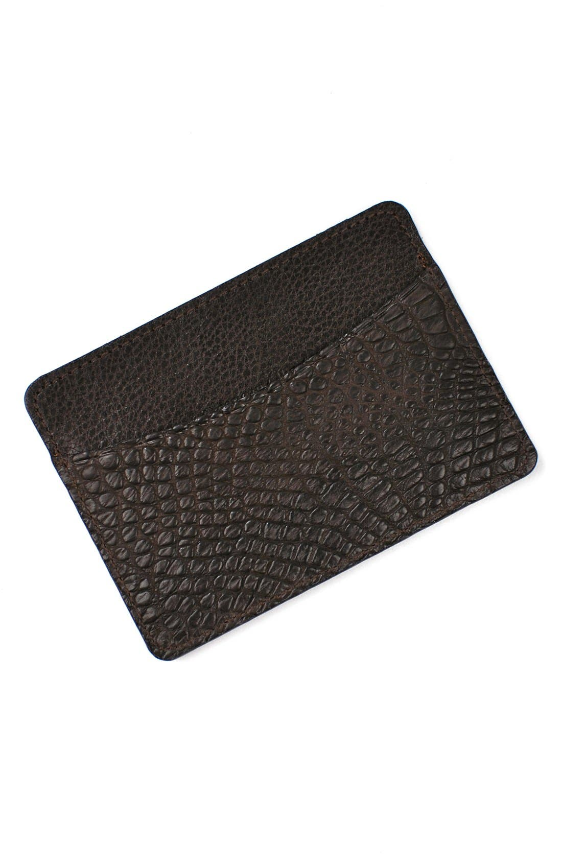 'Jameson' Matte Finish Genuine Alligator Leather Card Case,                             Alternate thumbnail 2, color,                             Walnut