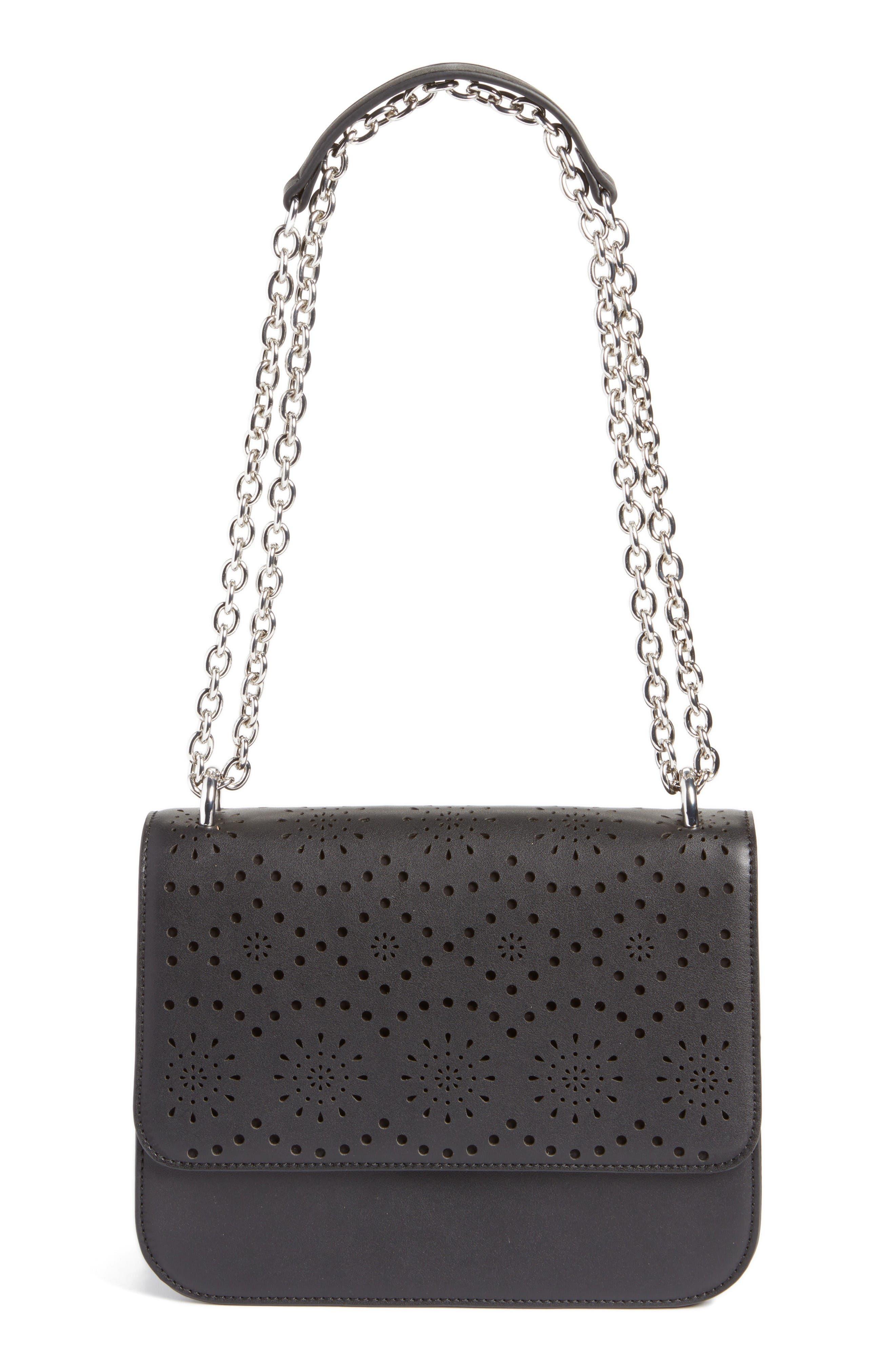 Dahlia Perforated Faux Leather Shoulder Bag,                             Main thumbnail 1, color,                             Black