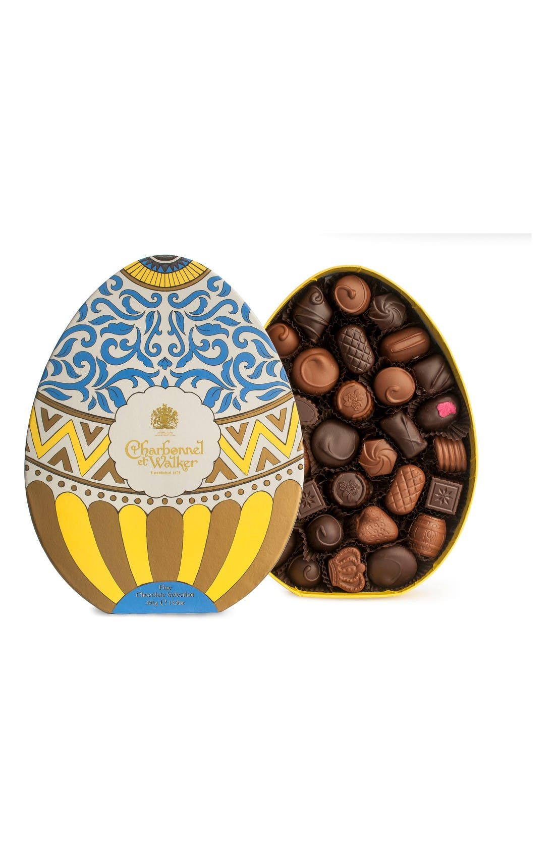 Fine Assorted Chocolates in Egg Shaped Gift Box,                         Main,                         color, Yellow/ Multi
