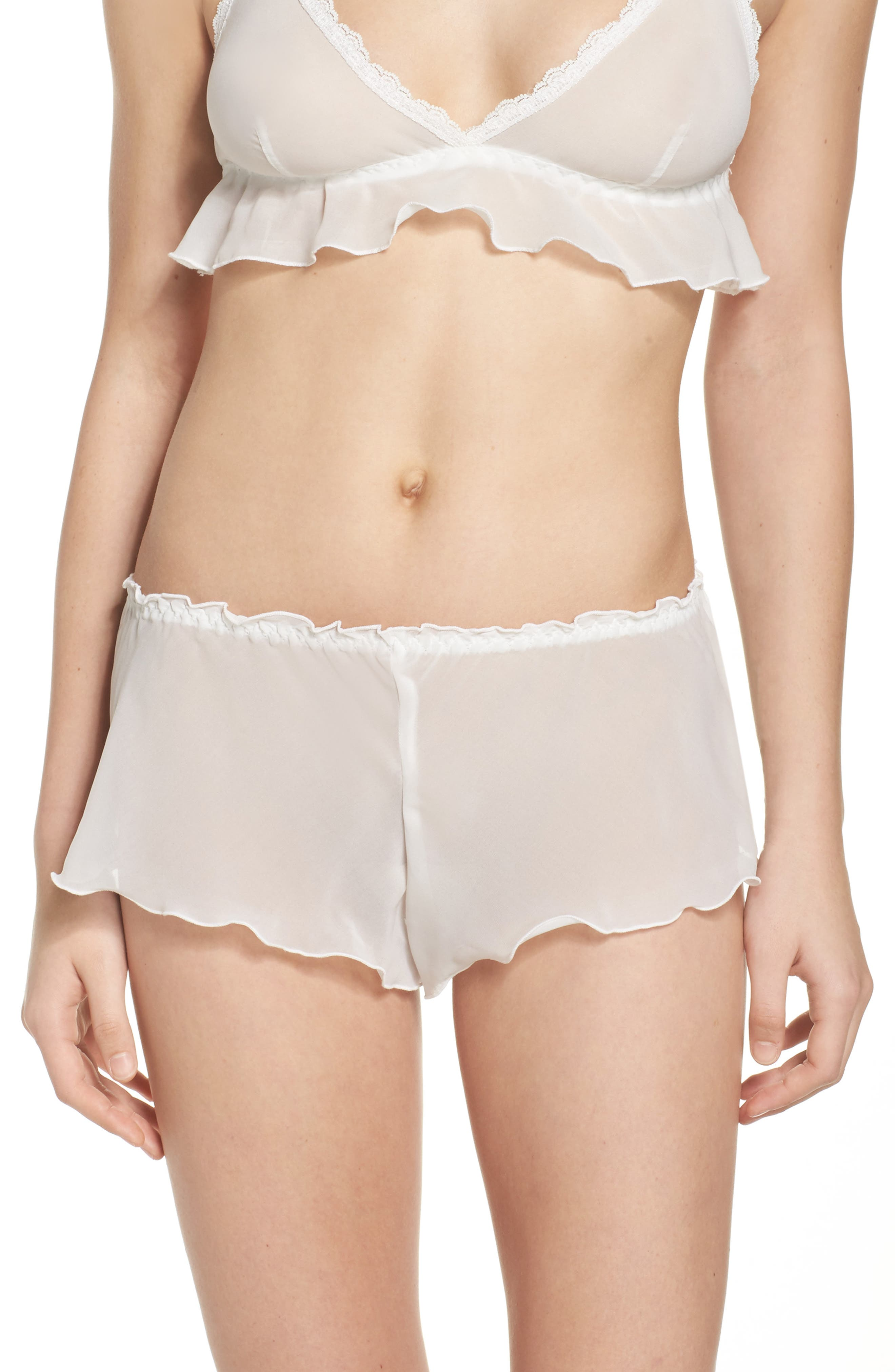 Chiffon Tap Shorts,                         Main,                         color, Off White