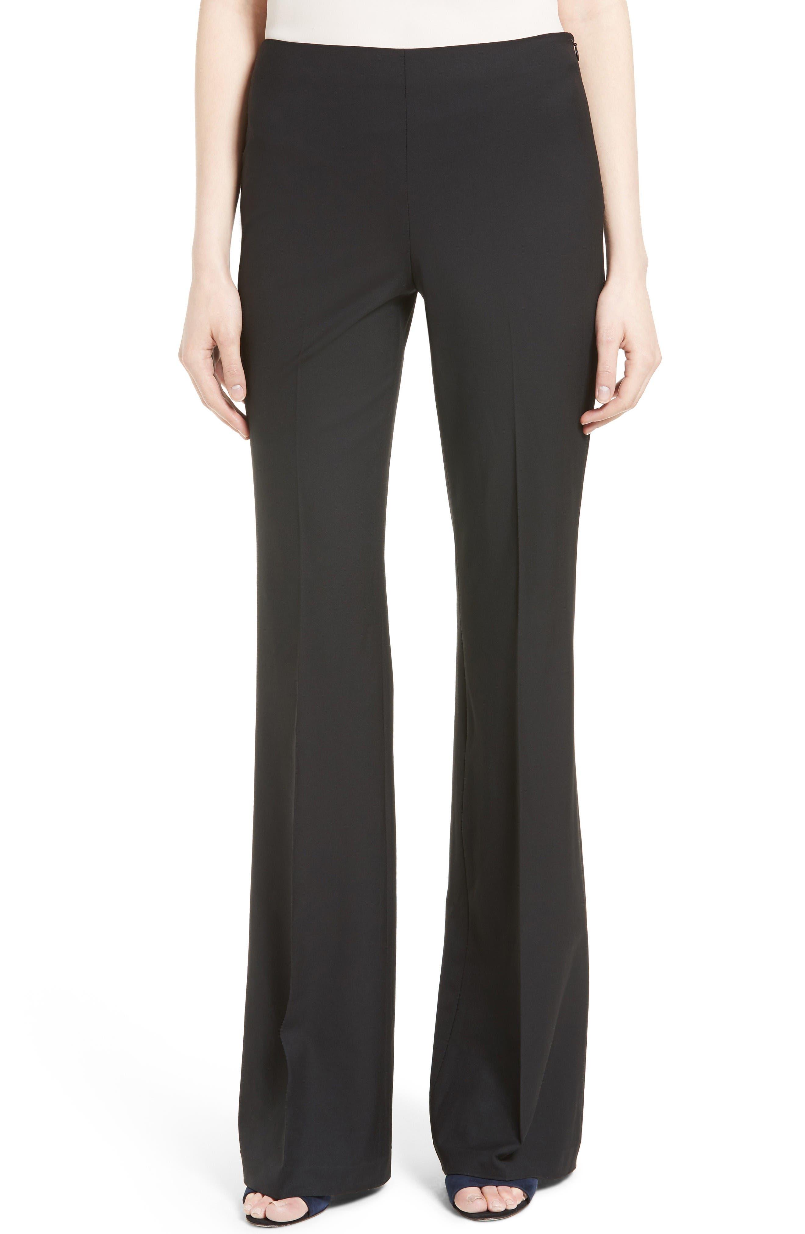 Demitria Flare Leg Good Wool Suit Pants,                             Main thumbnail 1, color,                             Black