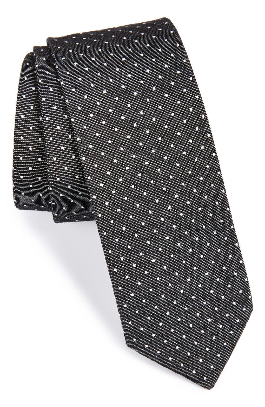 'EB' Silk & Cotton Dot Tie,                         Main,                         color, Black