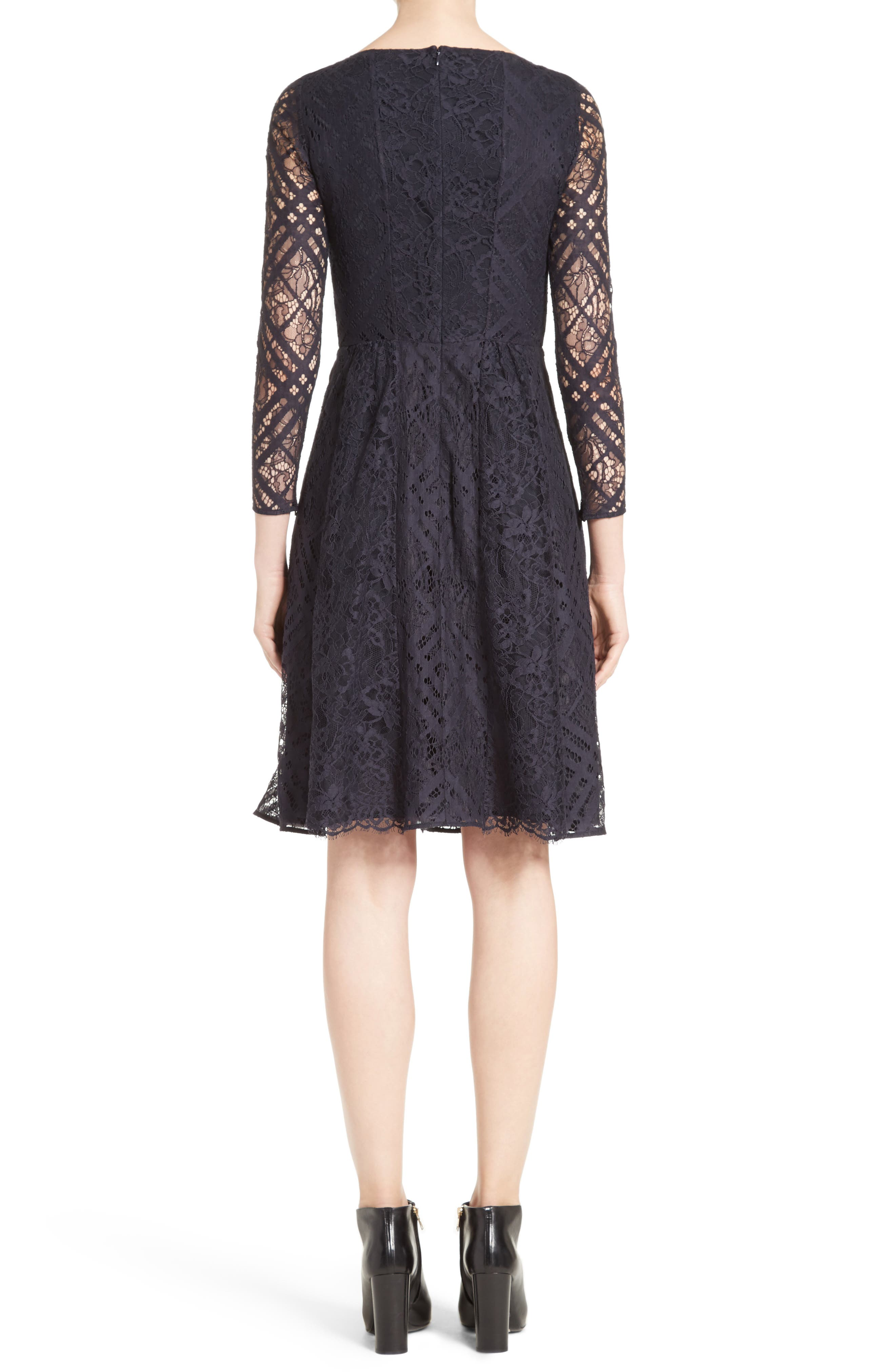 Liliana Lace Fit & Flare Dress,                             Alternate thumbnail 2, color,                             Navy