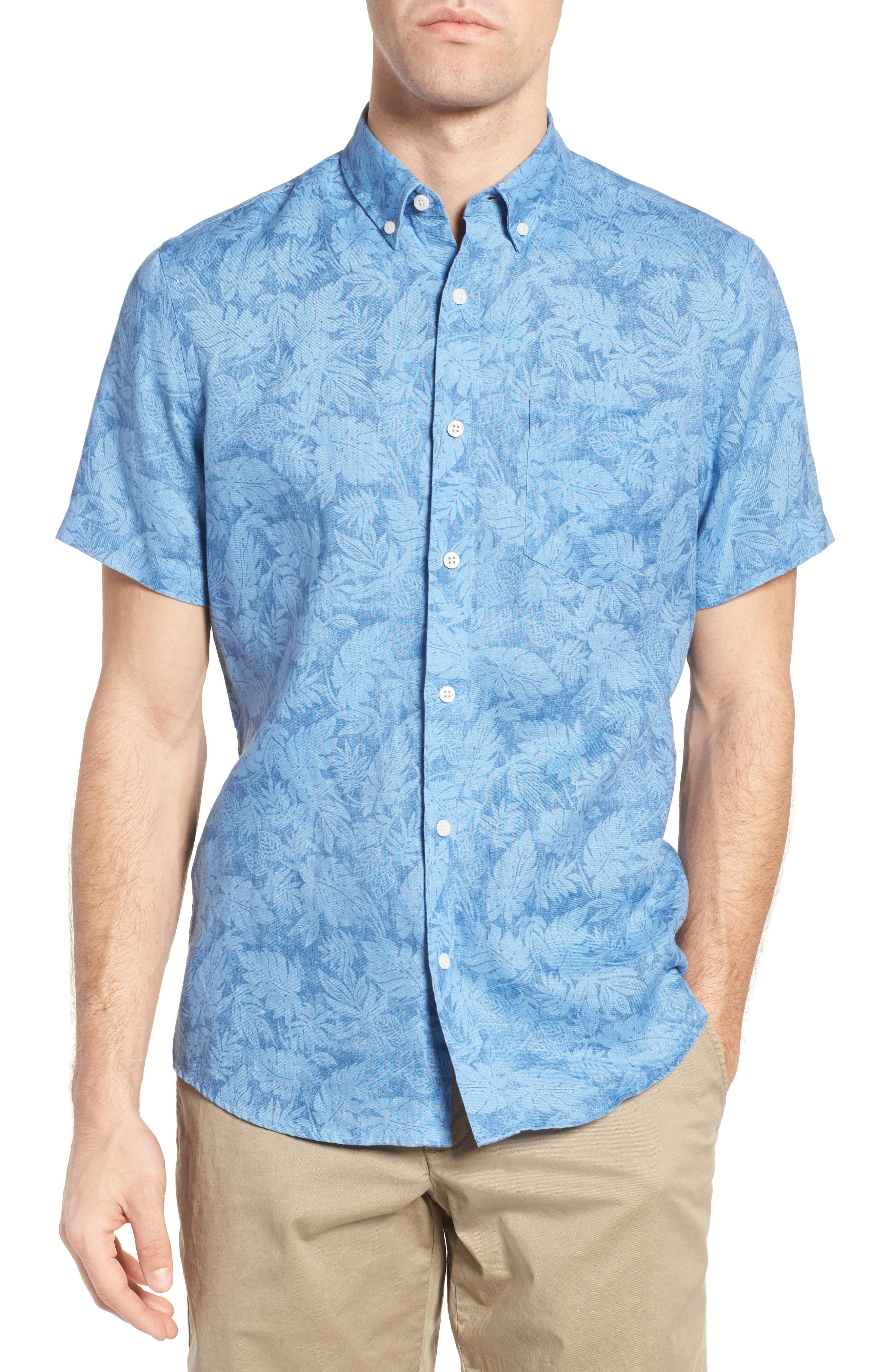 NORDSTROM MENS SHOP Slim Fit Floral Print Linen Sport Shirt