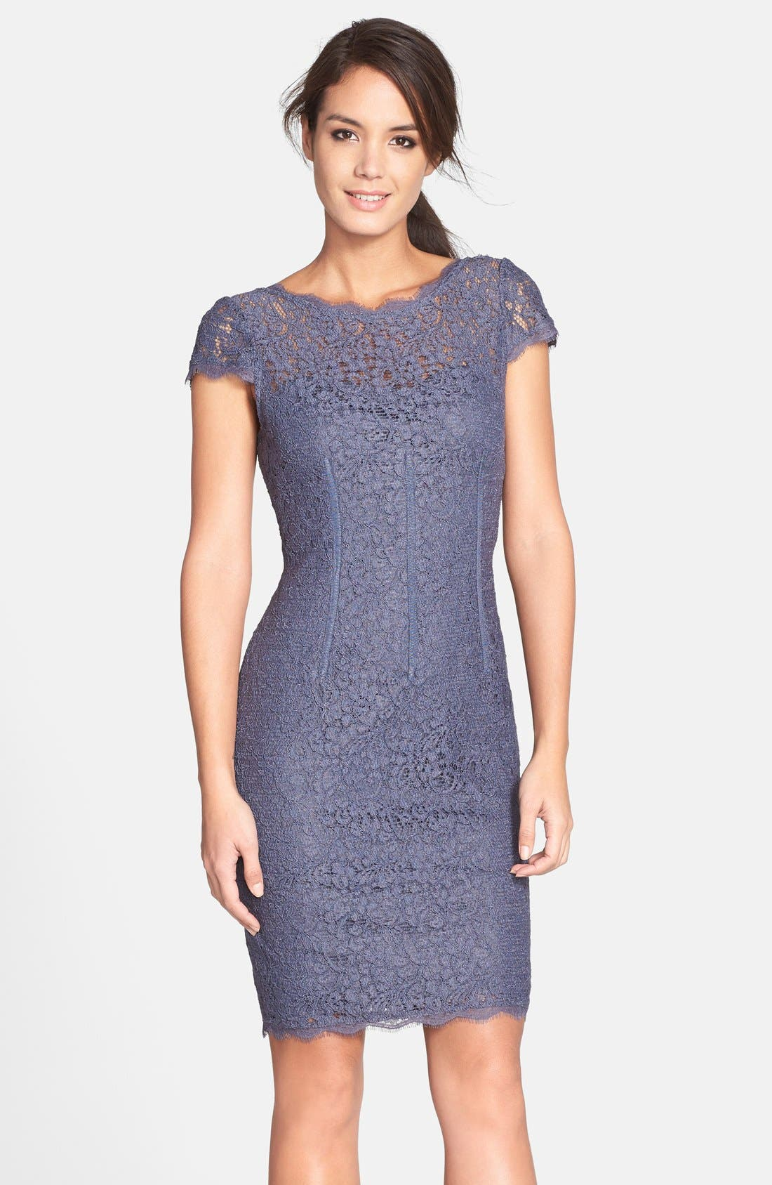 Alternate Image 1 Selected - Adrianna Papell Seam Detail Lace Cocktail Dress