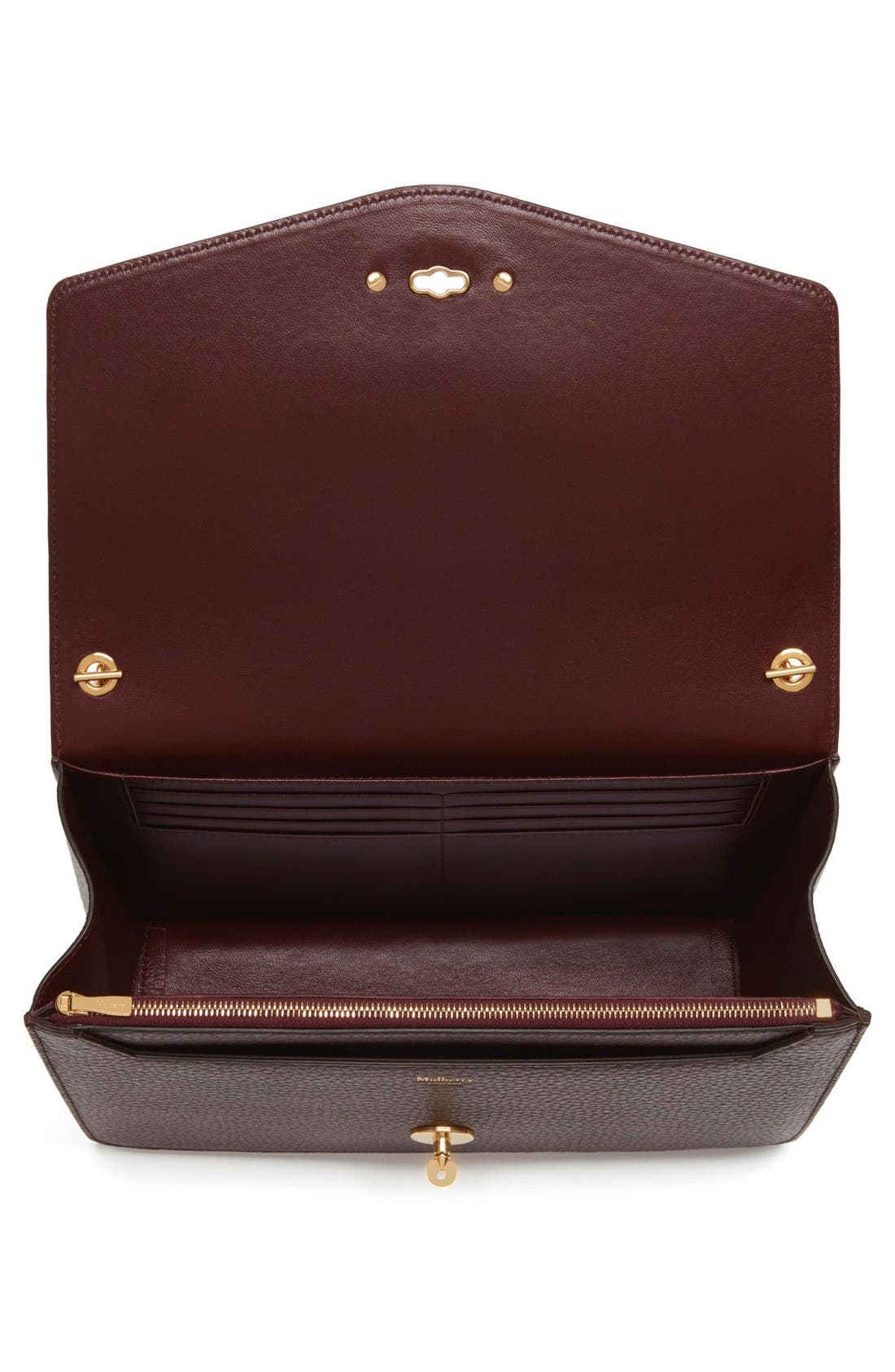 Large Postman's Lock Clutch,                             Alternate thumbnail 3, color,                             Oxblood