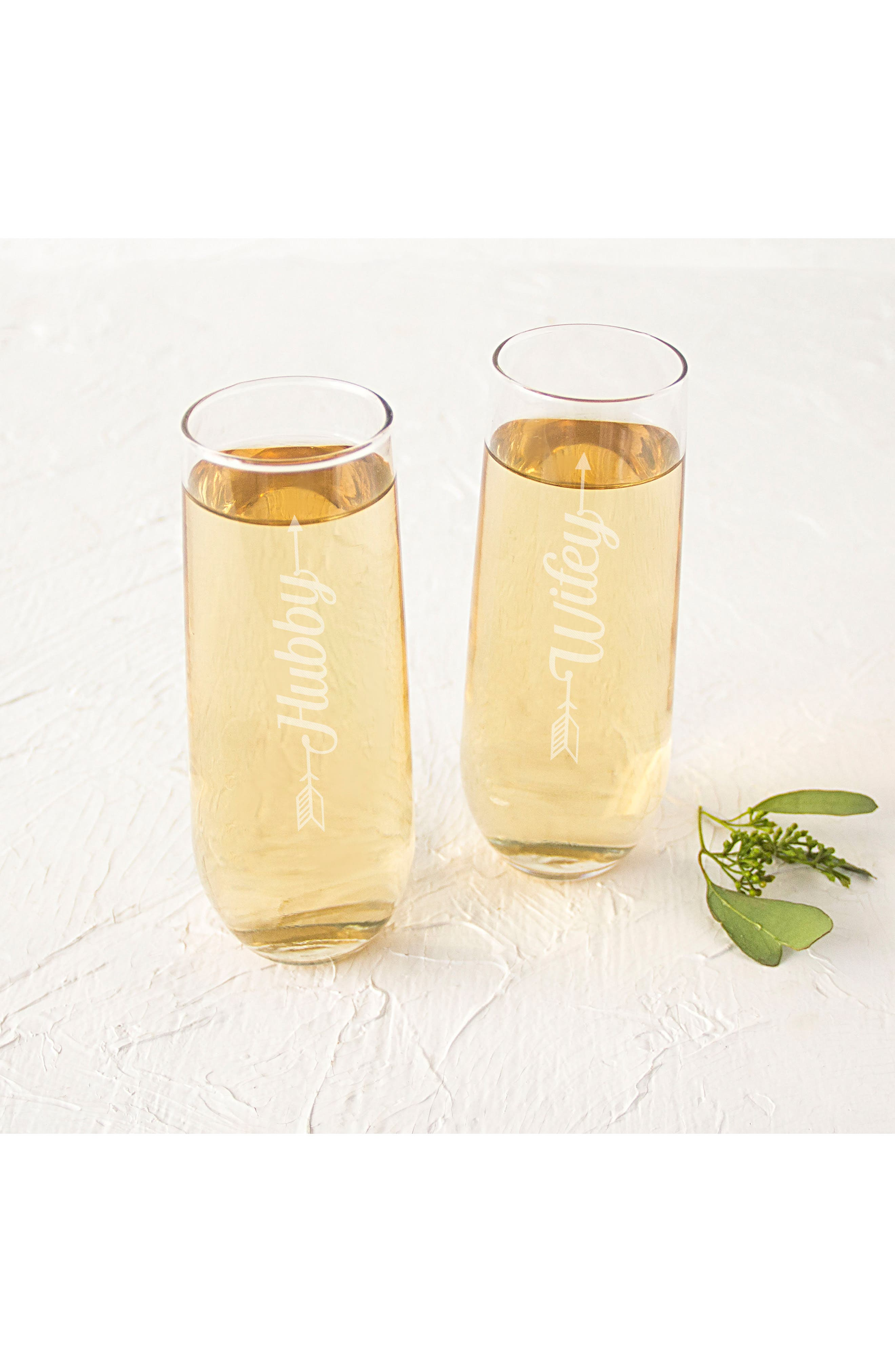 Alternate Image 3  - CATHY'S CONCEPTS Hubby/Wifey Set of 2 Stemless Champagne Flutes