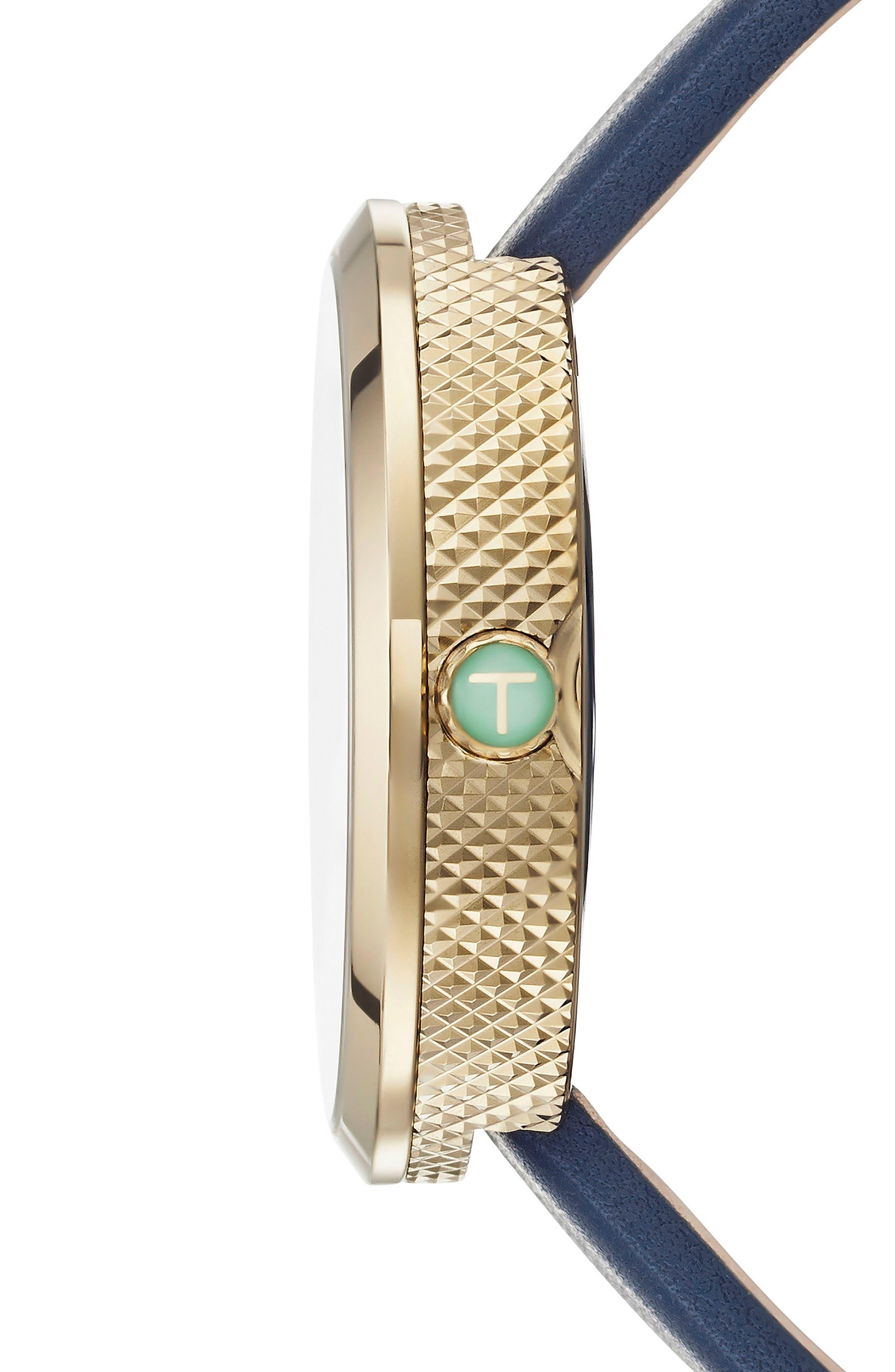 Jack Multifunction Leather Strap Watch, 40mm,                             Alternate thumbnail 3, color,                             Black/ Blue