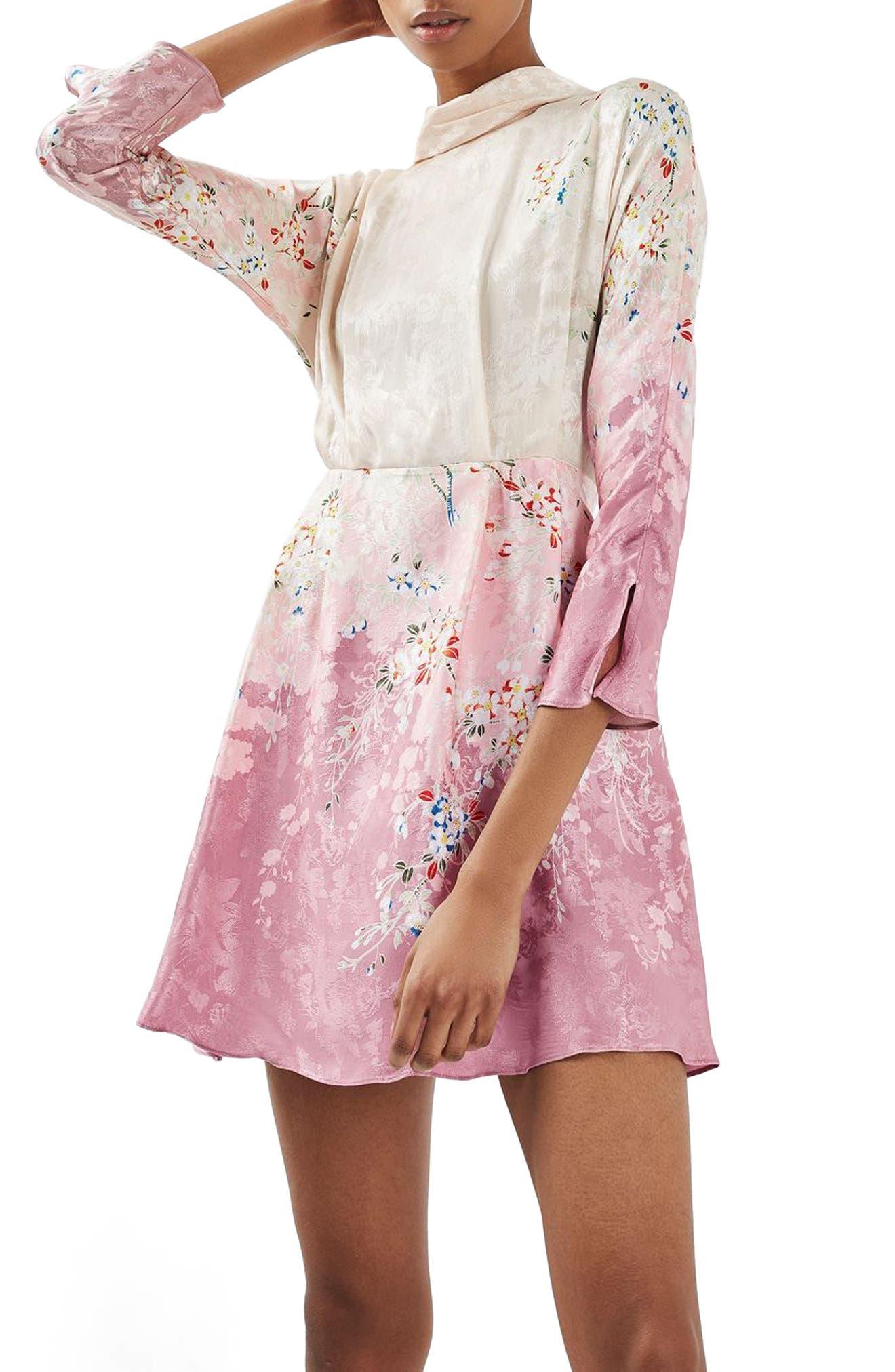 Main Image - Topshop Jacquard Floral Print Dress