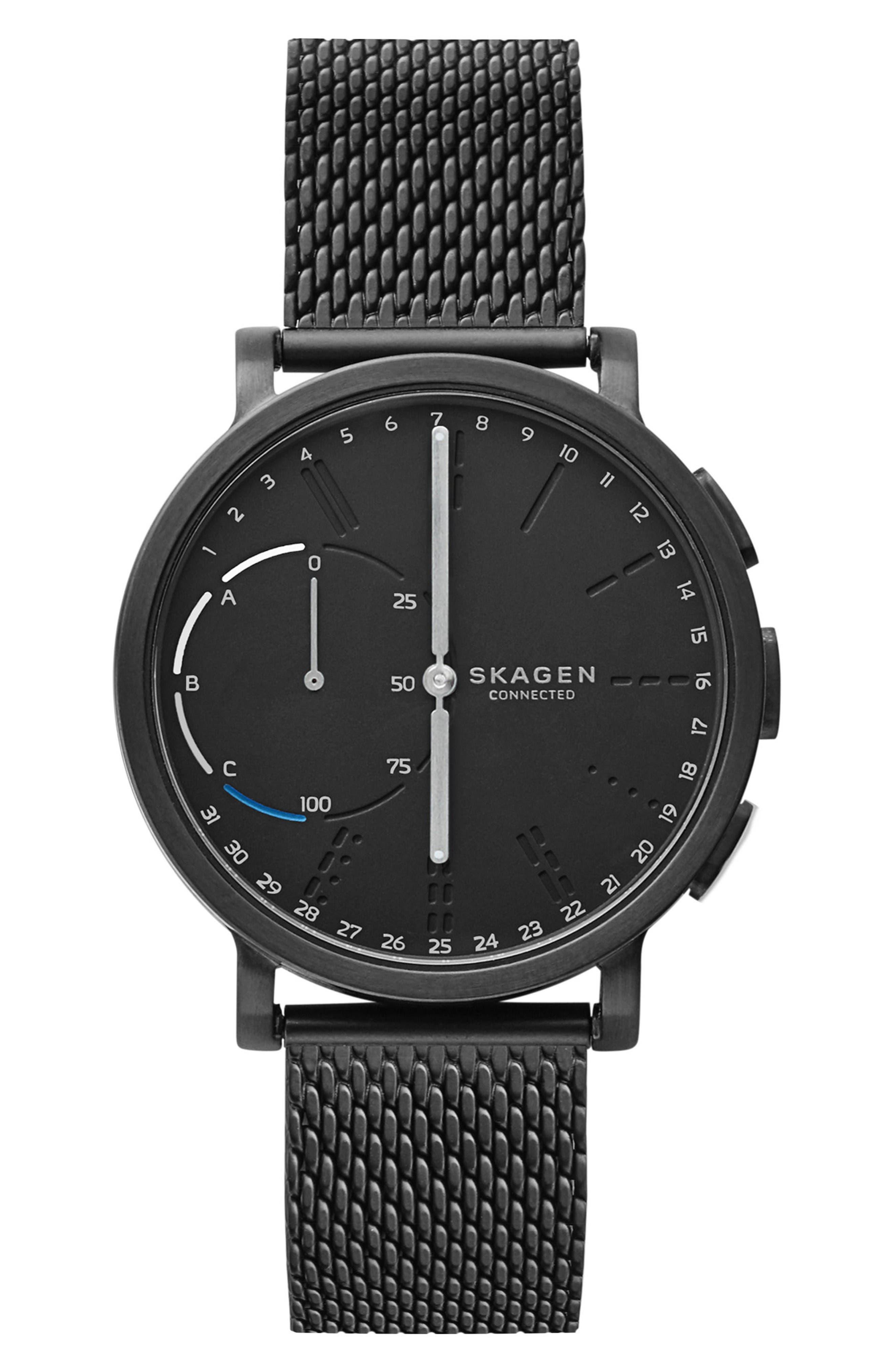 Hagen Connected Mesh Strap Hybrid Smart Watch, 42mm,                         Main,                         color, Black