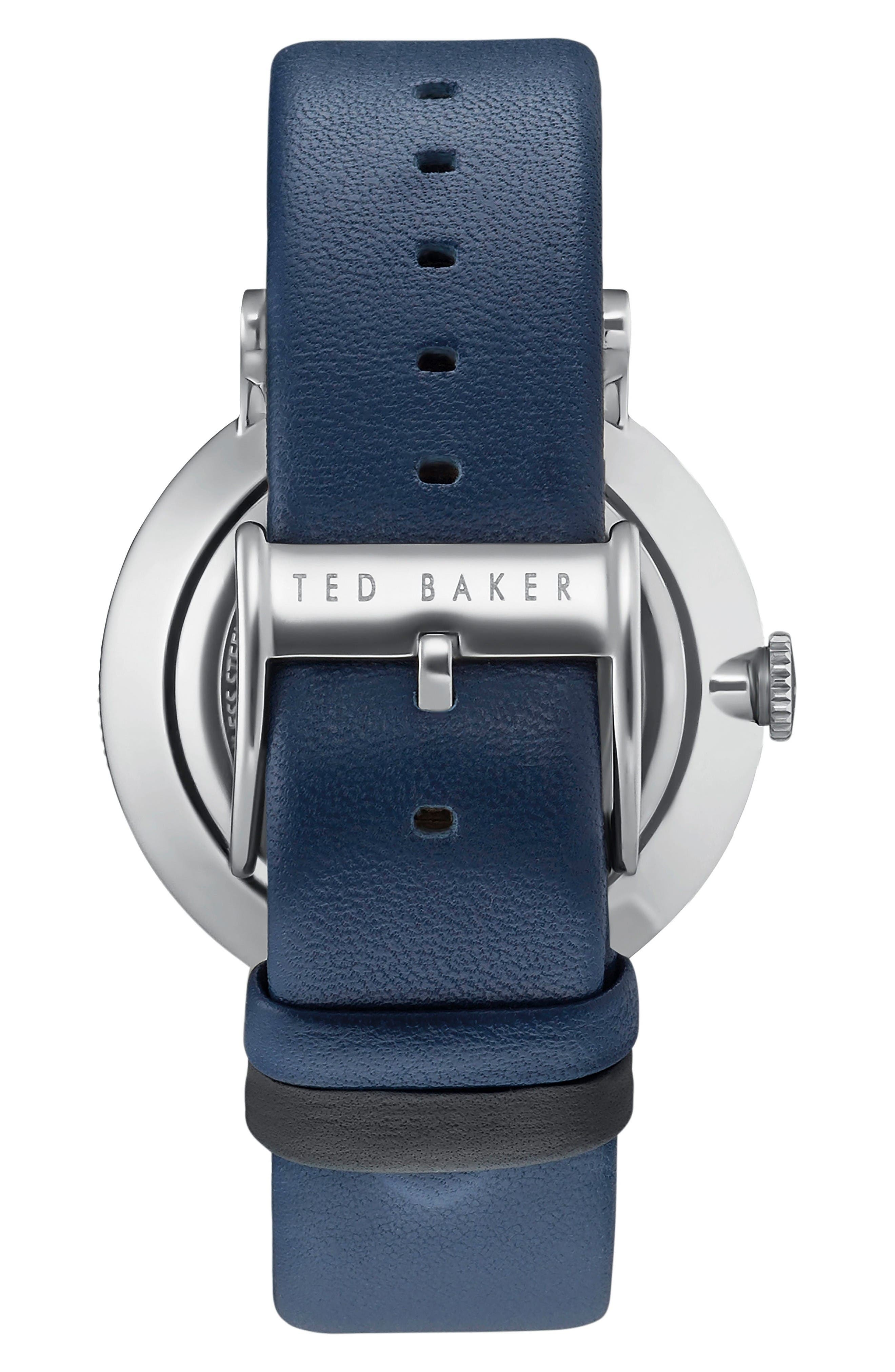 Alternate Image 2  - Ted Baker London Connor Leather Strap Watch, 42mm