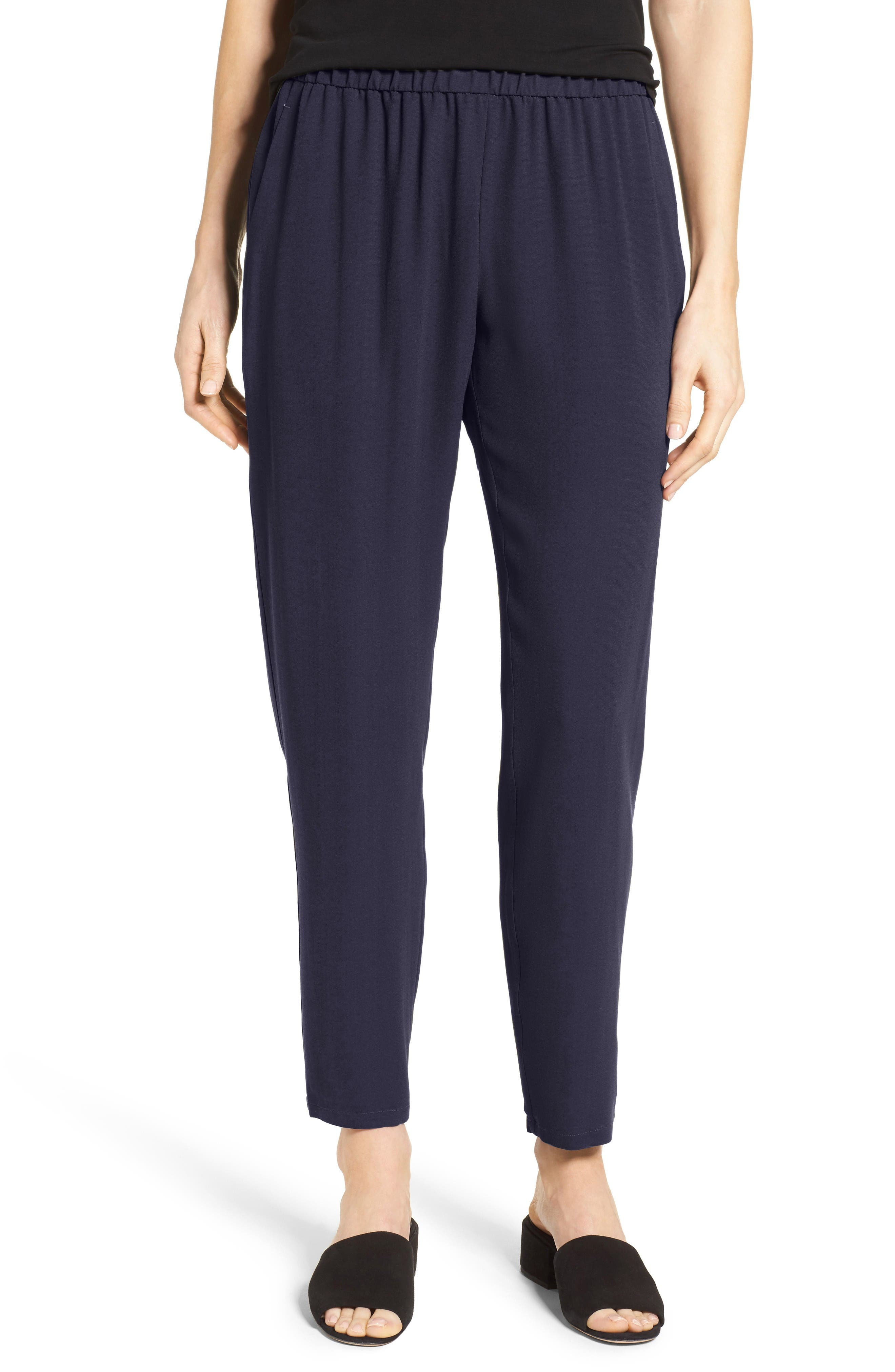 Slouchy Silk Crepe Ankle Pants,                             Main thumbnail 1, color,                             Midnight