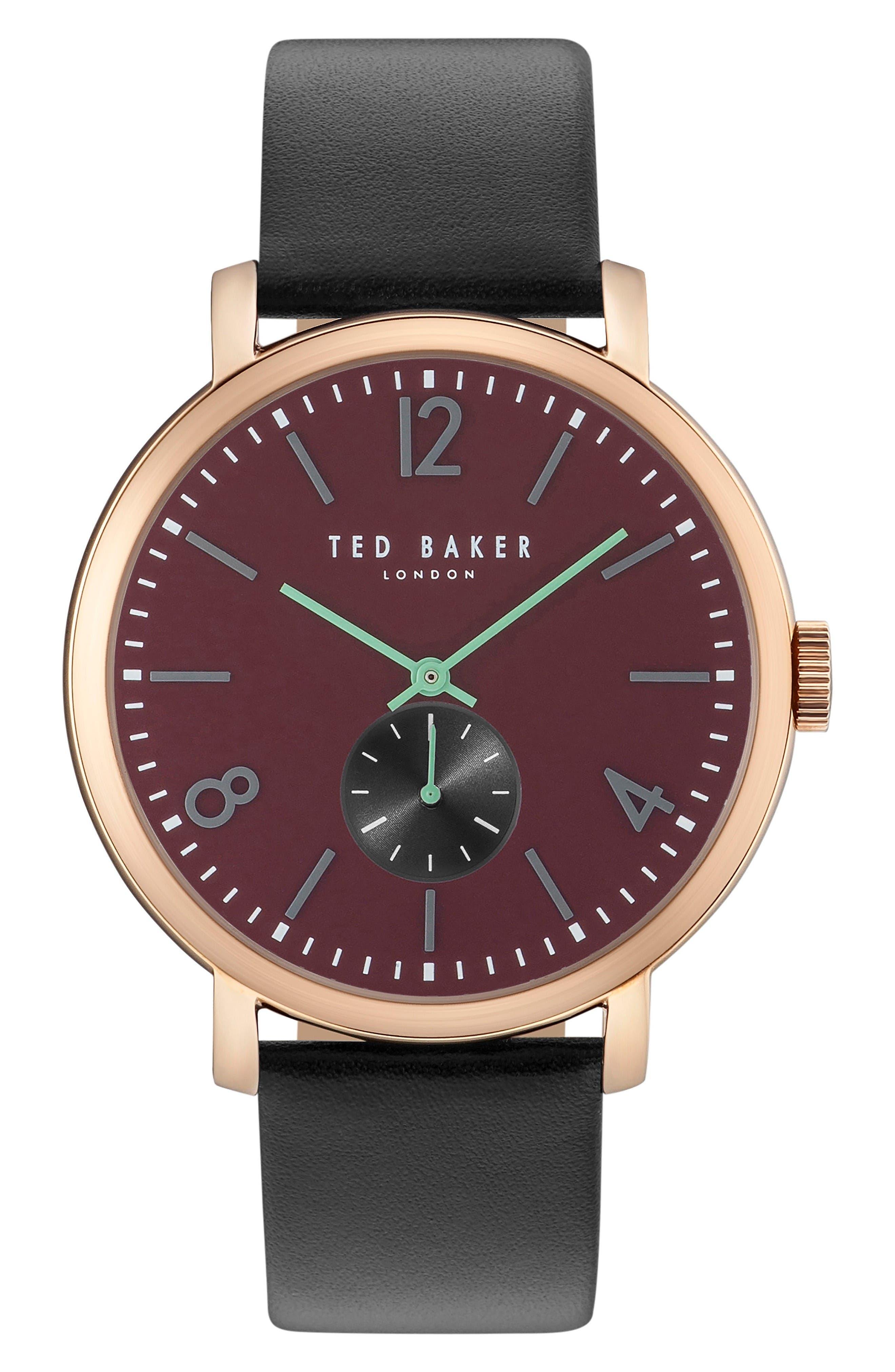 Oliver Leather Strap Watch, 42mm,                         Main,                         color, Burgundy/ Black
